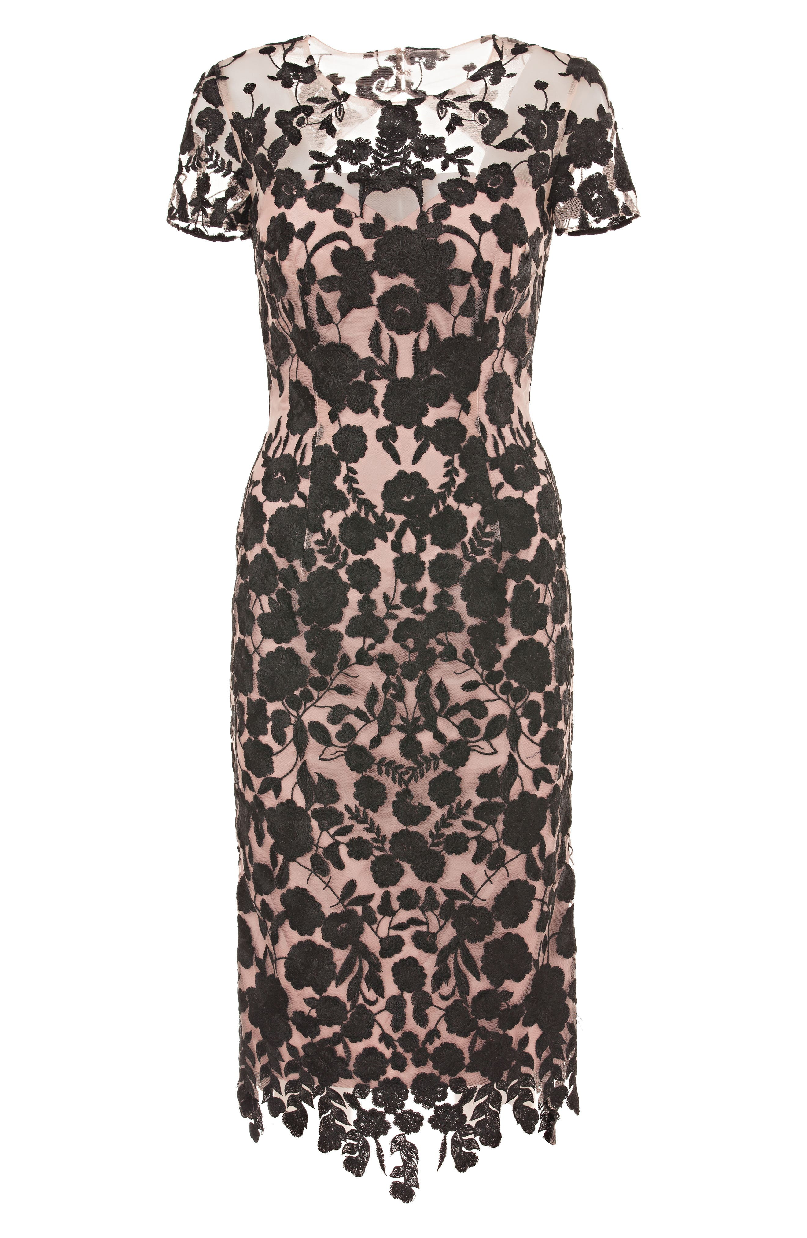 JS COLLECTIONS, Embroidered Midi Dress, Alternate thumbnail 4, color, 001