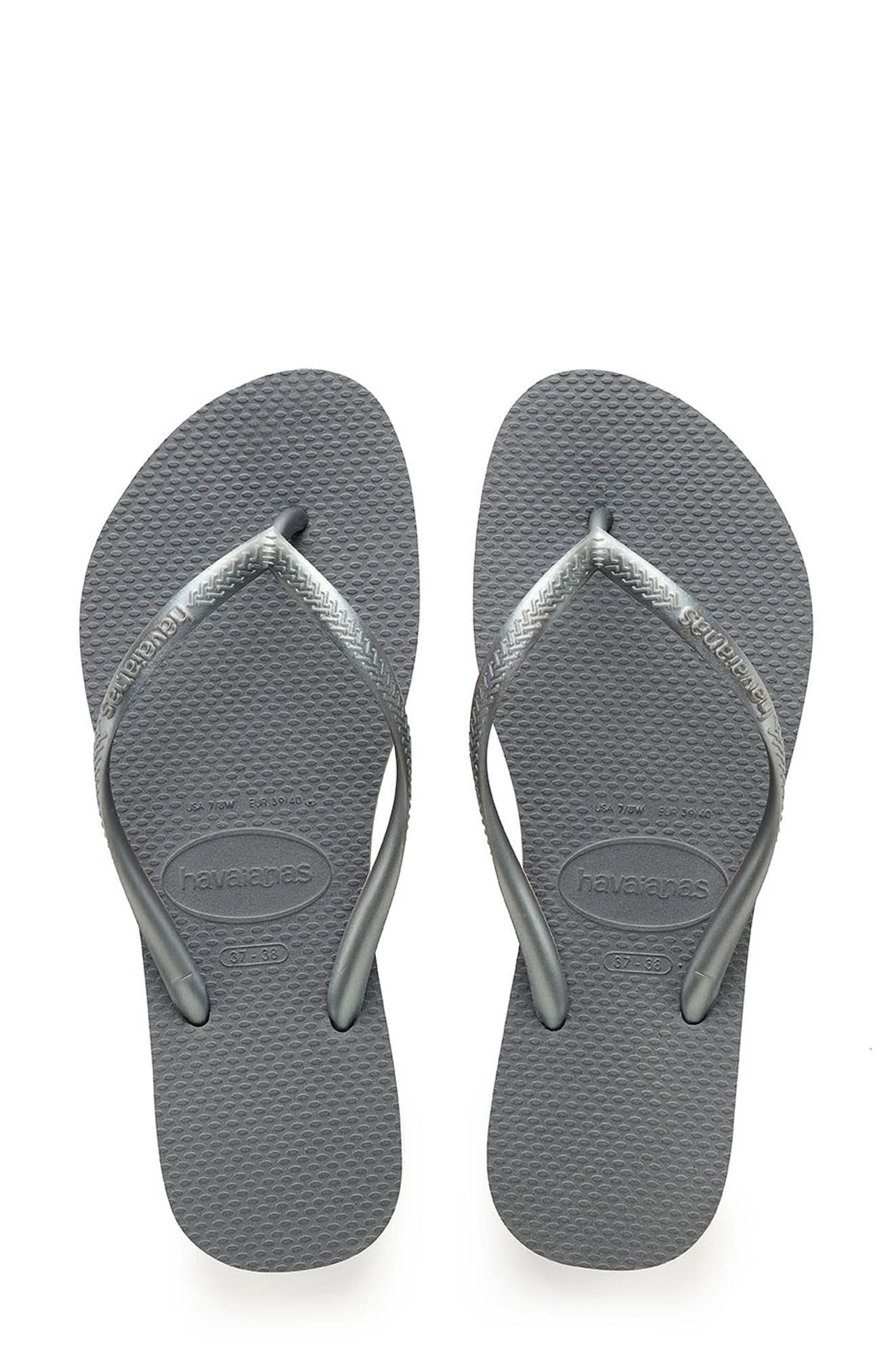 HAVAIANAS 'Slim' Flip Flop, Main, color, STEEL GREY