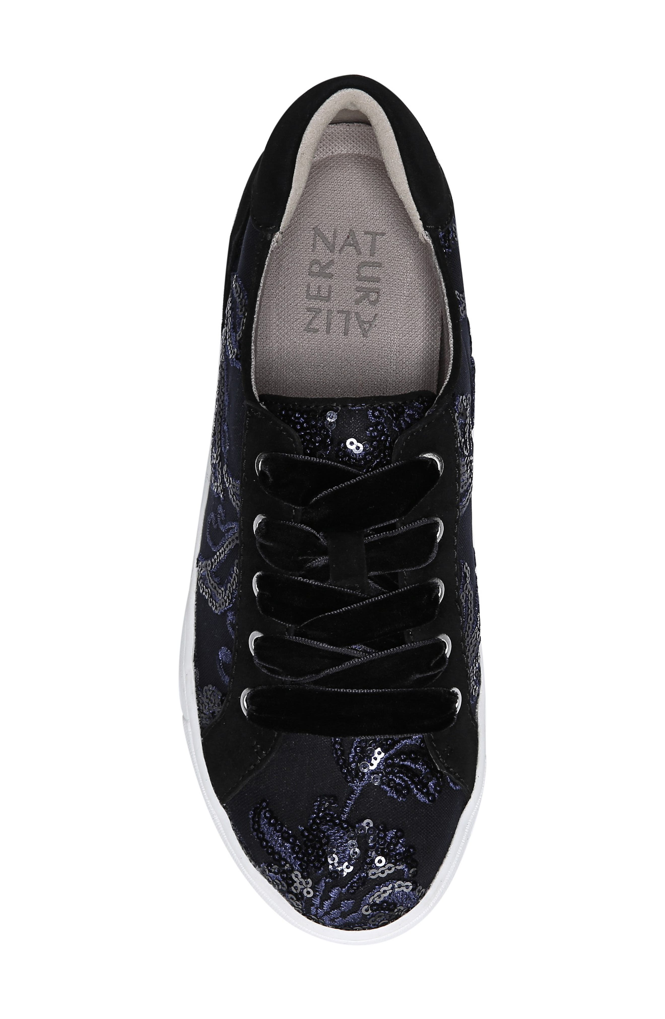 NATURALIZER, Morrison Sneaker, Alternate thumbnail 5, color, NAVY EMBROIDERED LACE