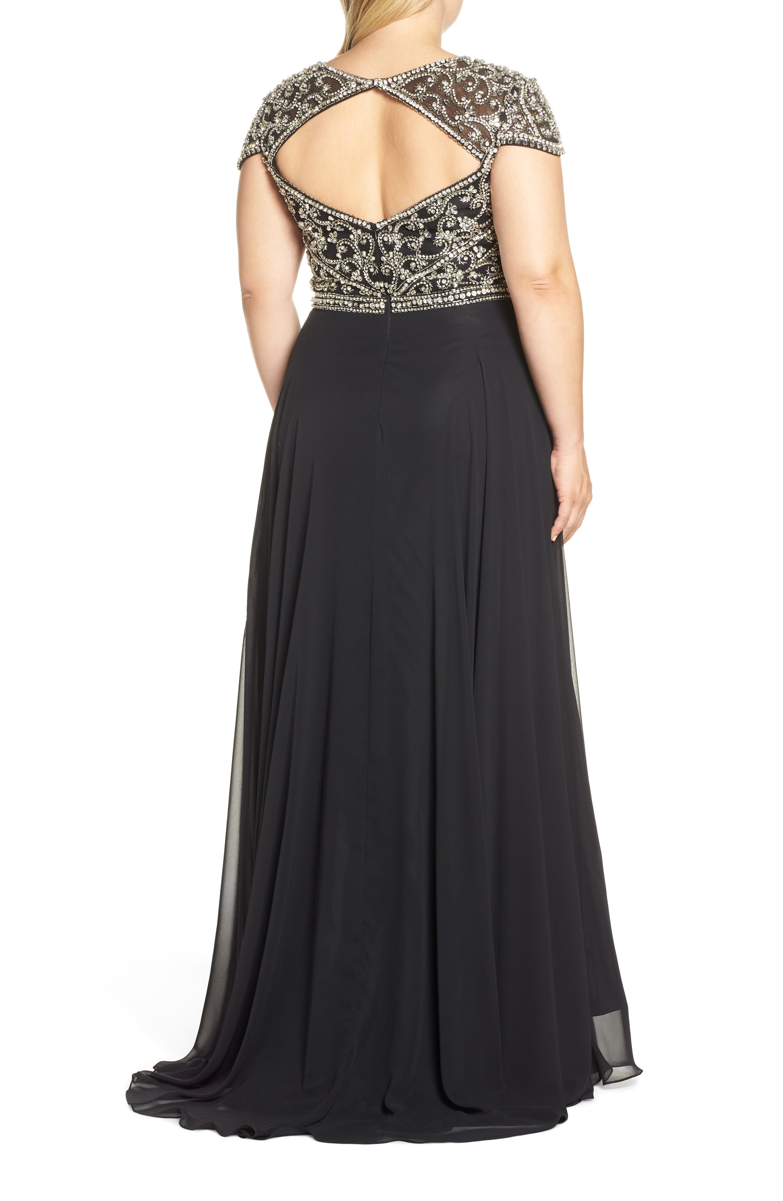 MAC DUGGAL, Embellished Bodice Evening Dress, Alternate thumbnail 2, color, BLACK