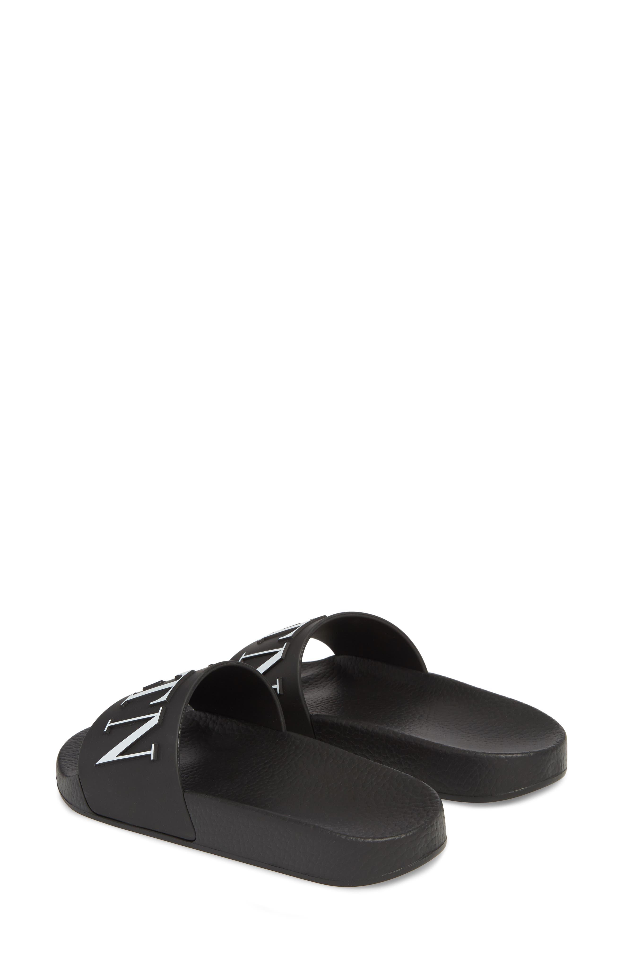 VALENTINO GARAVANI, VLTN Pool Slide Sandal, Alternate thumbnail 2, color, BLACK/ WHITE