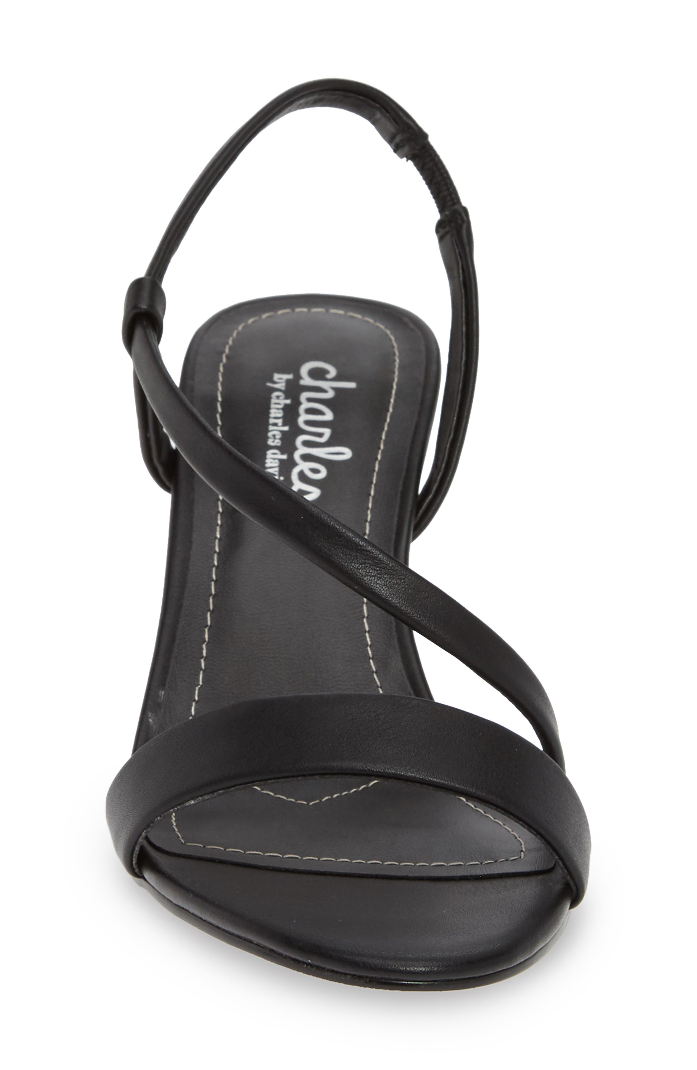 CHARLES BY CHARLES DAVID, Bermuda Asymmetrical Sandal, Alternate thumbnail 4, color, BLACK FAUX LEATHER