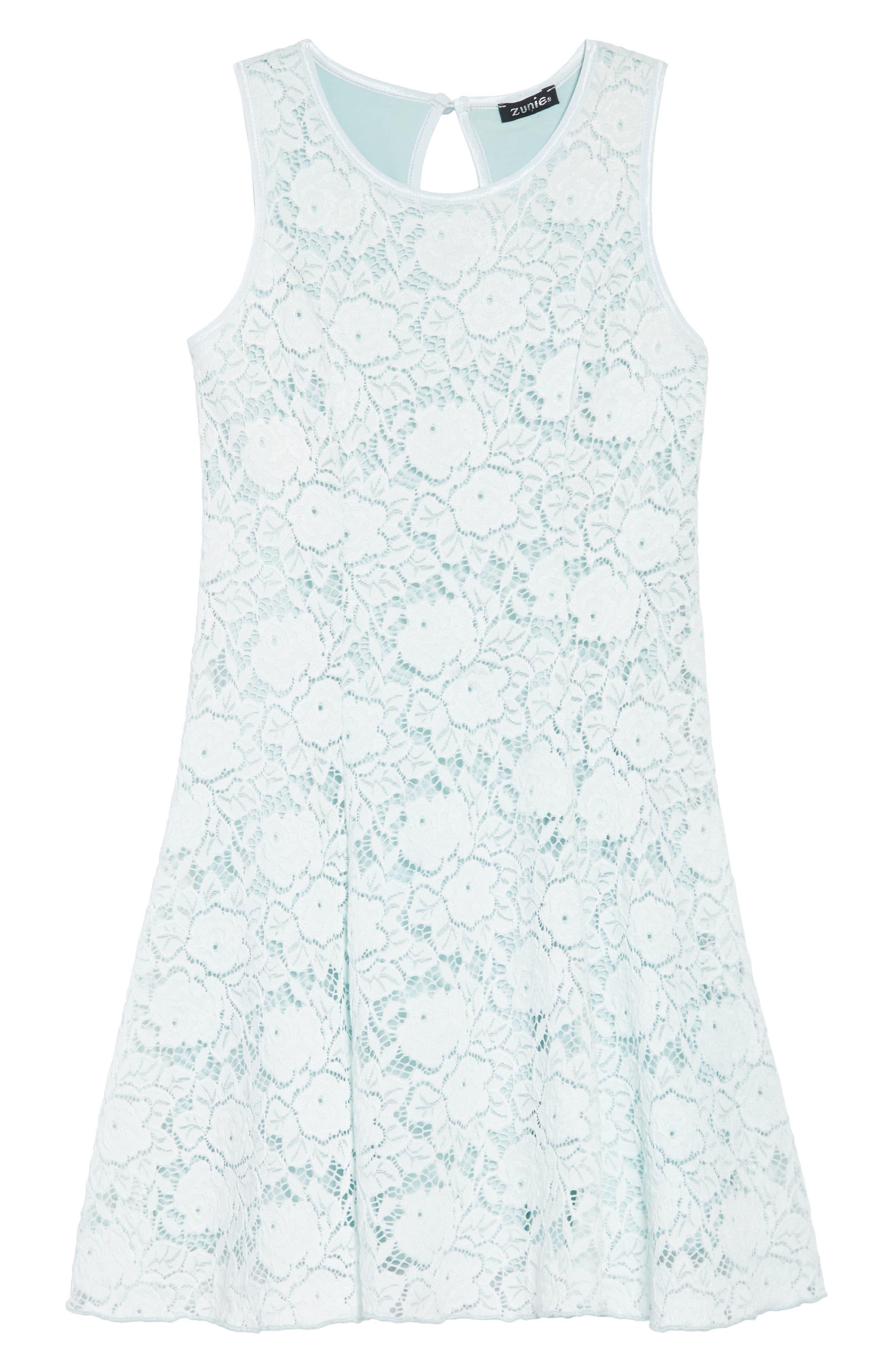 ZUNIE Lace Skater Dress, Main, color, MINT