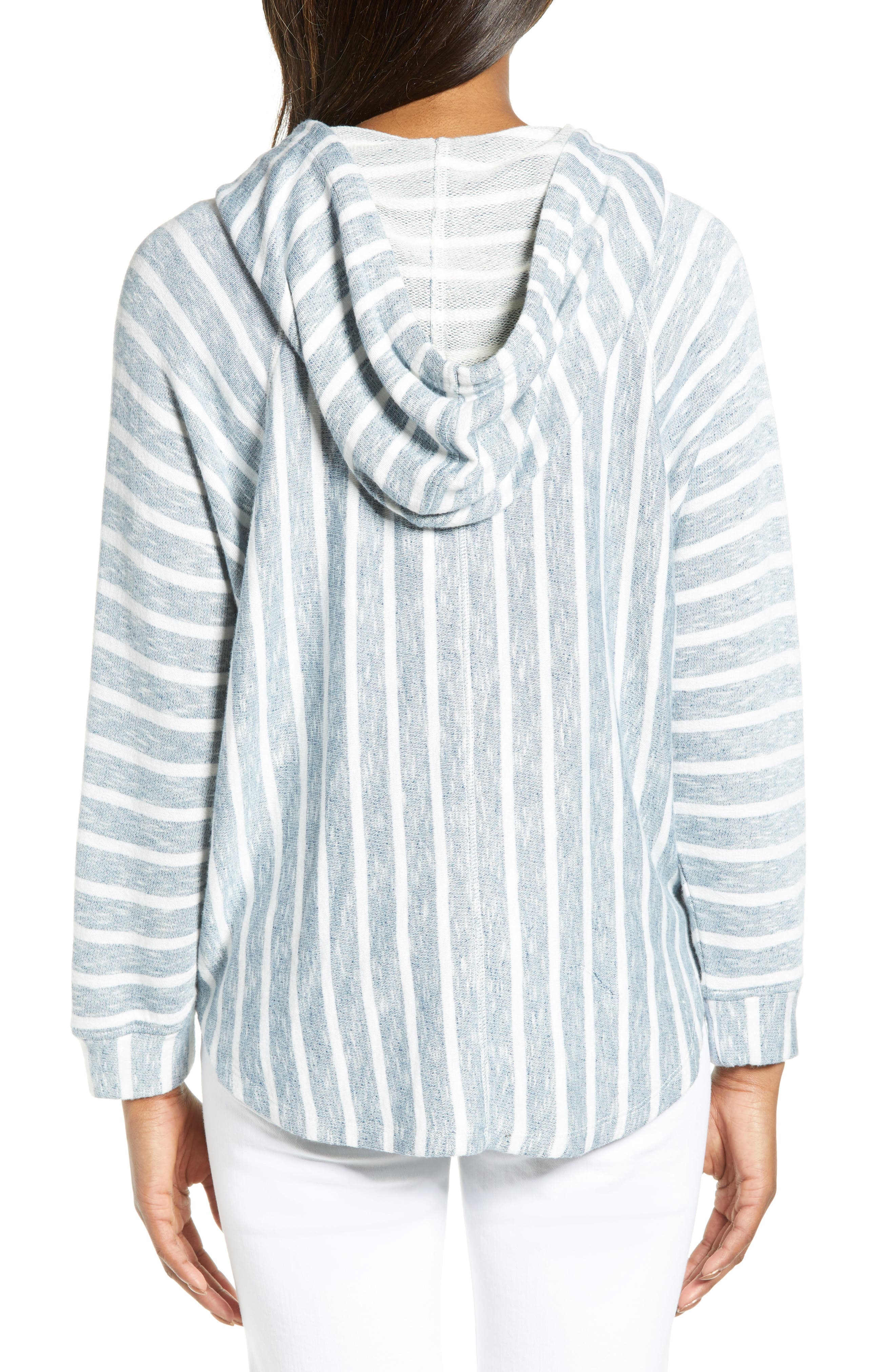 LUCKY BRAND, Striped Hooded Poncho, Alternate thumbnail 2, color, BLUE MULTI