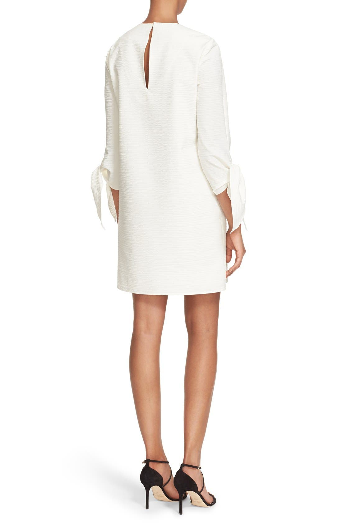 TIBI, Tie Sleeve Textured Cotton Blend Shift Dress, Alternate thumbnail 4, color, 100