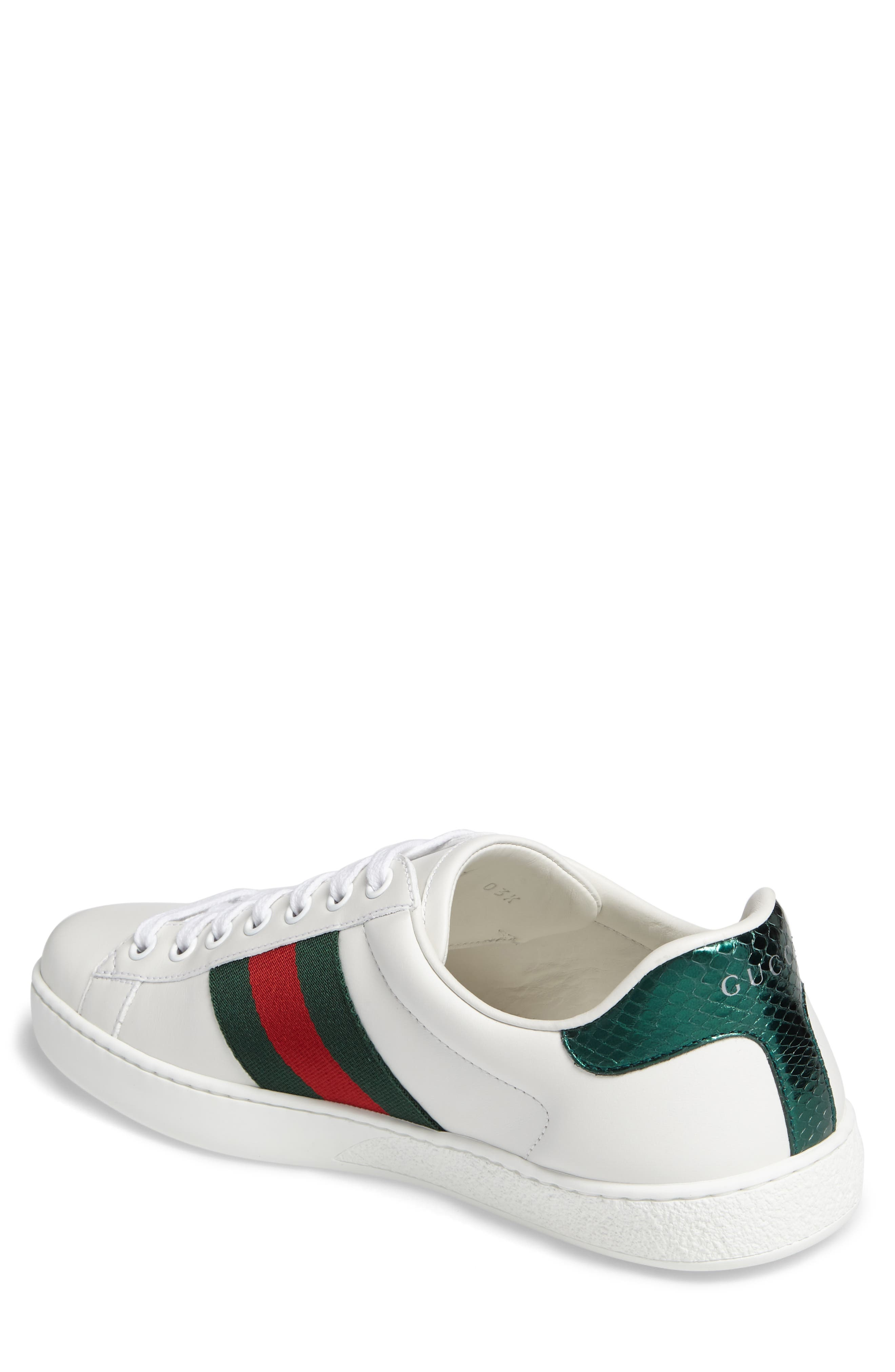 GUCCI, New Ace Sneaker, Alternate thumbnail 2, color, BIANCO MULTI LEATHER