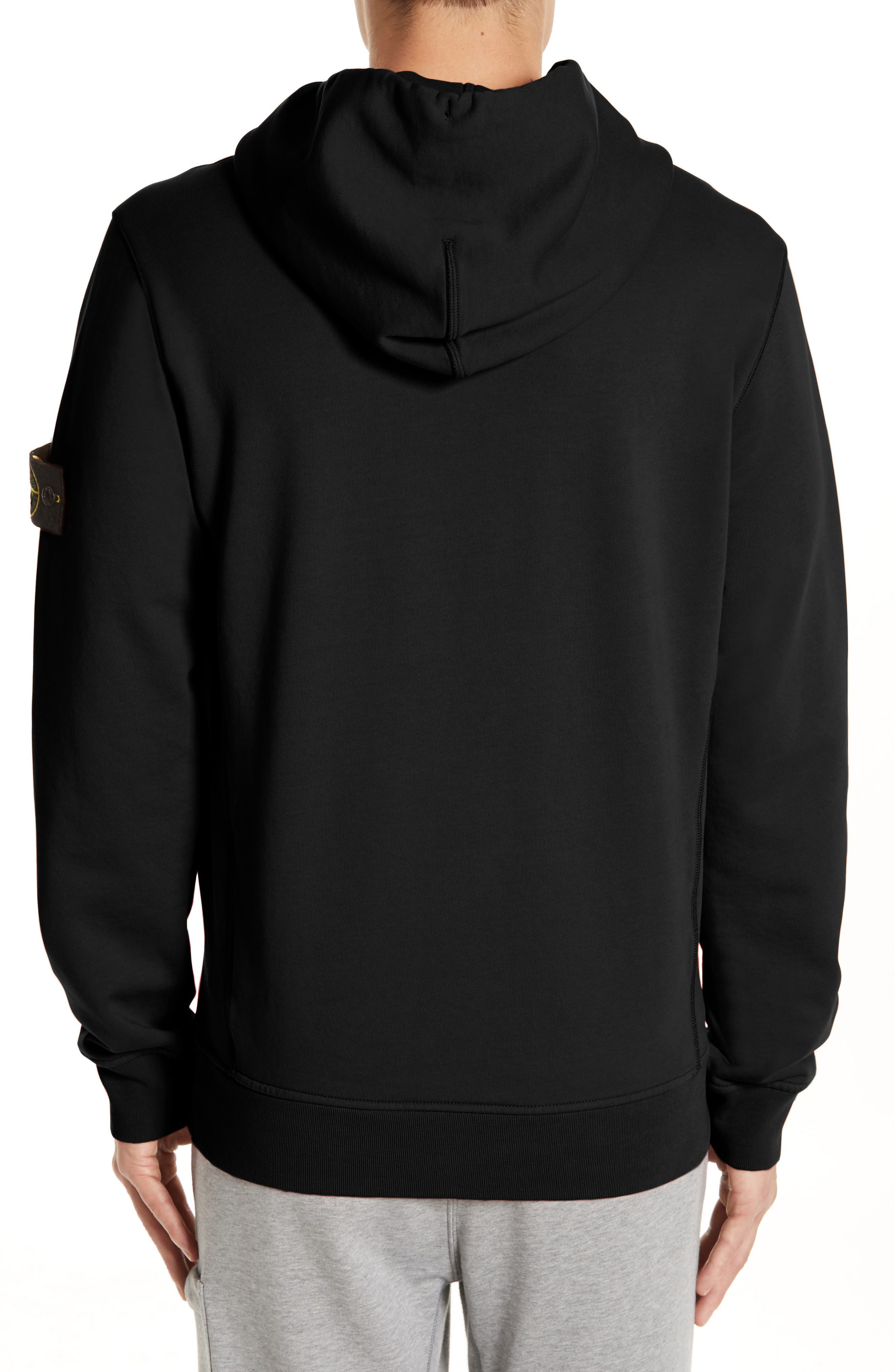 STONE ISLAND, Pullover Hoodie, Alternate thumbnail 2, color, BLACK