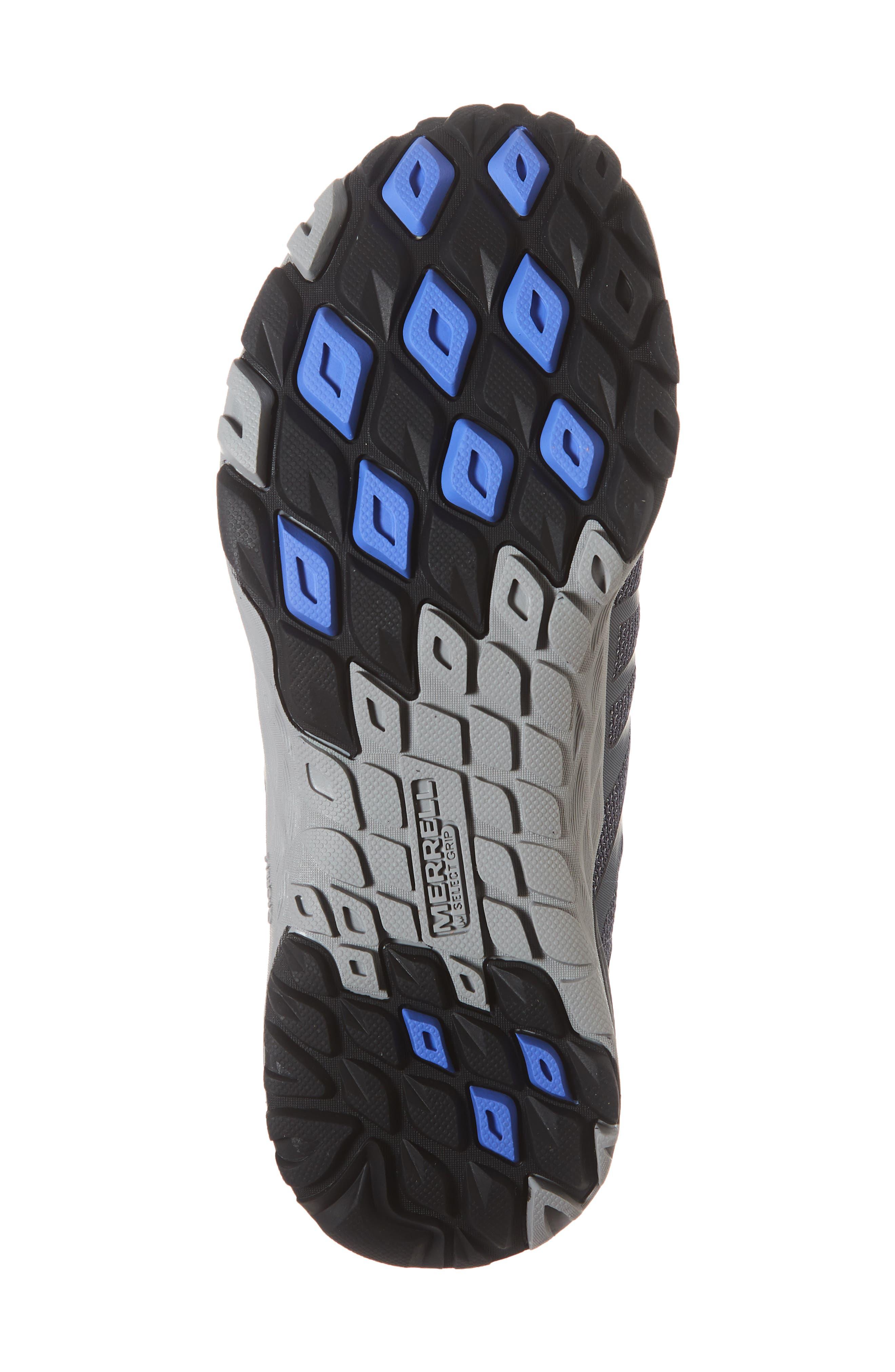 MERRELL, Siren Edge Waterproof Q2 Hiking Shoe, Alternate thumbnail 6, color, BLACK FABRIC
