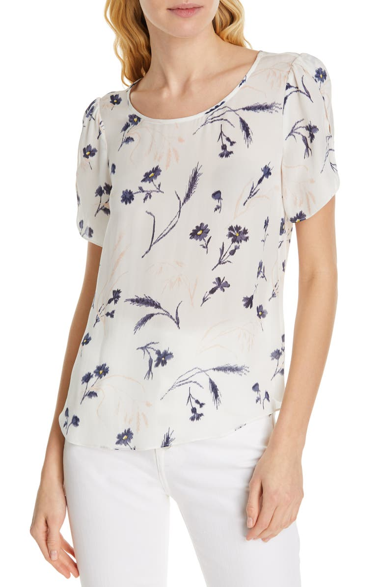 Joie Wira Silk Floral Print Top In Porcelain