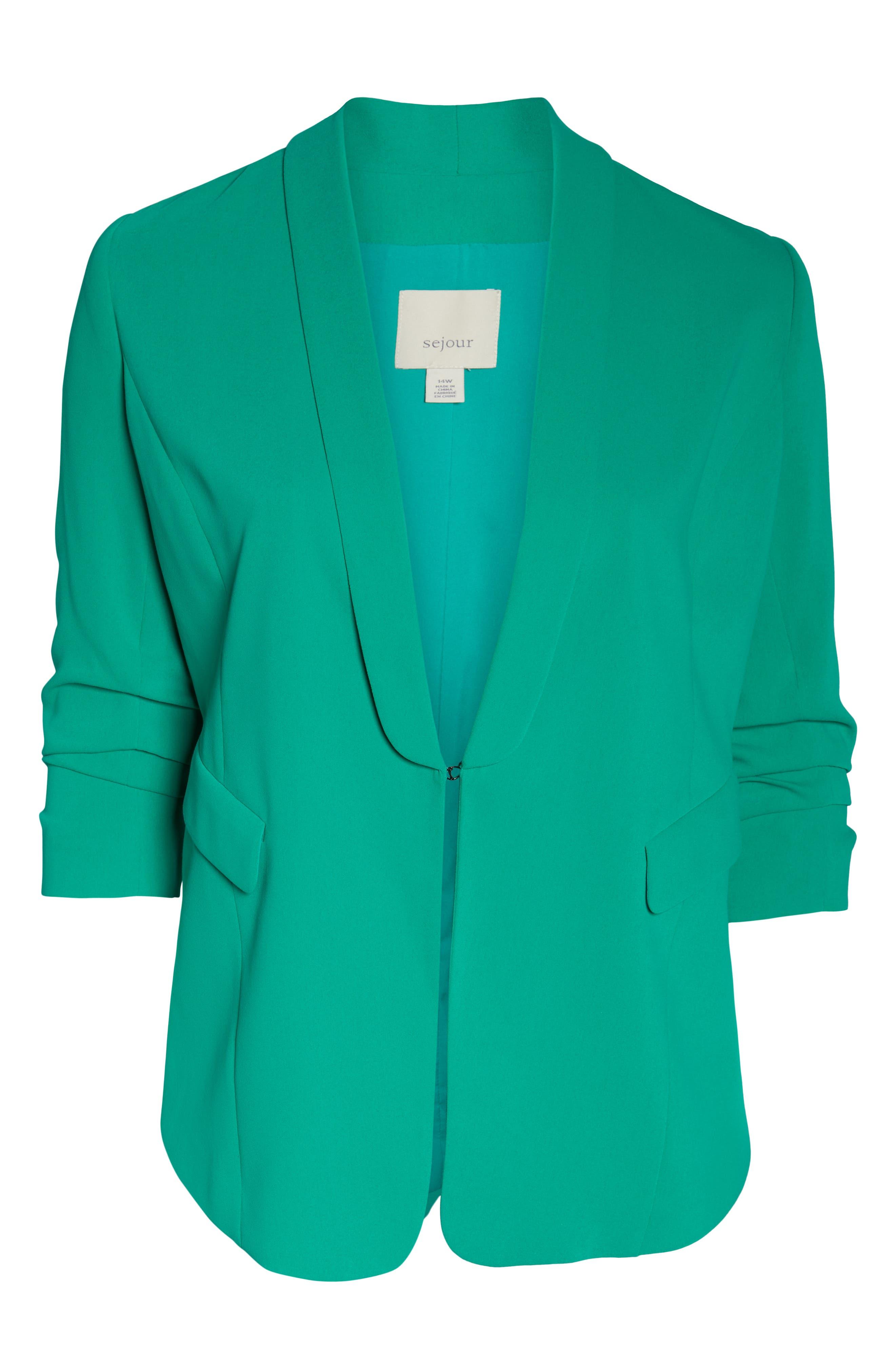 SEJOUR, Gathered Sleeve Blazer, Alternate thumbnail 6, color, GREEN PARAKEET