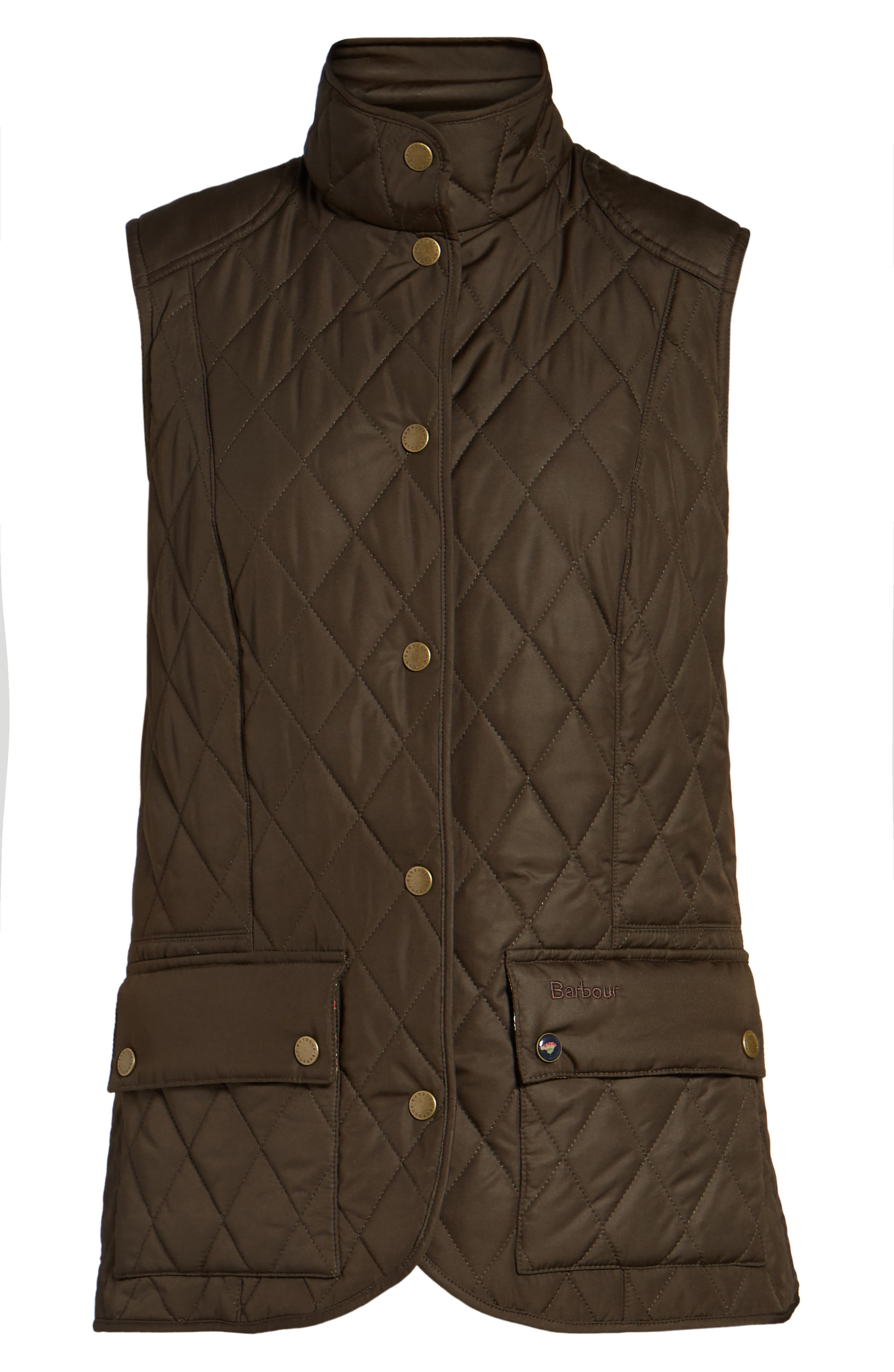 BARBOUR, Saddleworth Quilted Vest, Alternate thumbnail 5, color, 340
