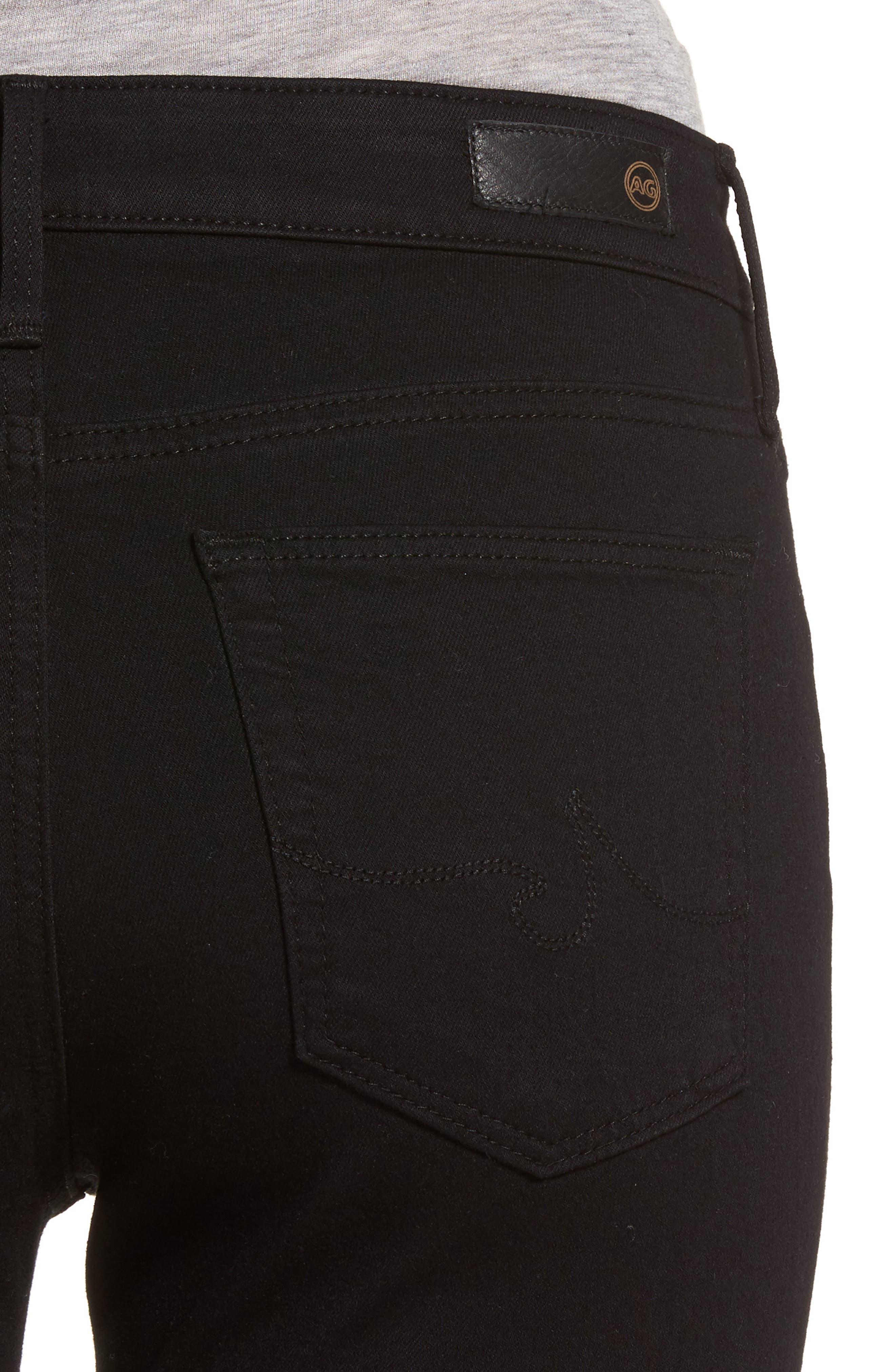 AG, Farrah High Waist Ankle Skinny Jeans, Alternate thumbnail 5, color, SUPER BLACK