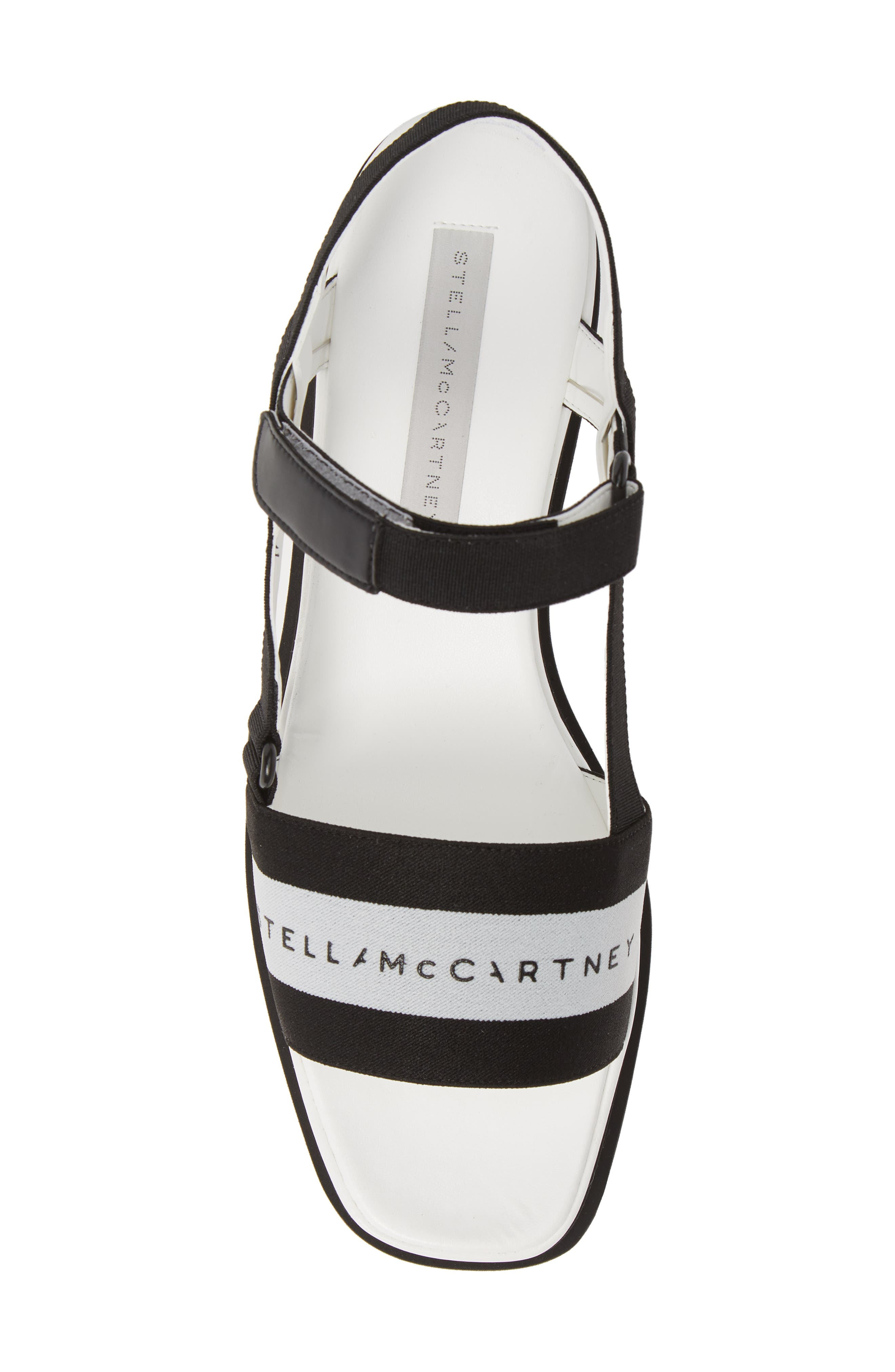 STELLA MCCARTNEY, Stripe Logo Platform Sandal, Alternate thumbnail 5, color, BLACK/ WHITE