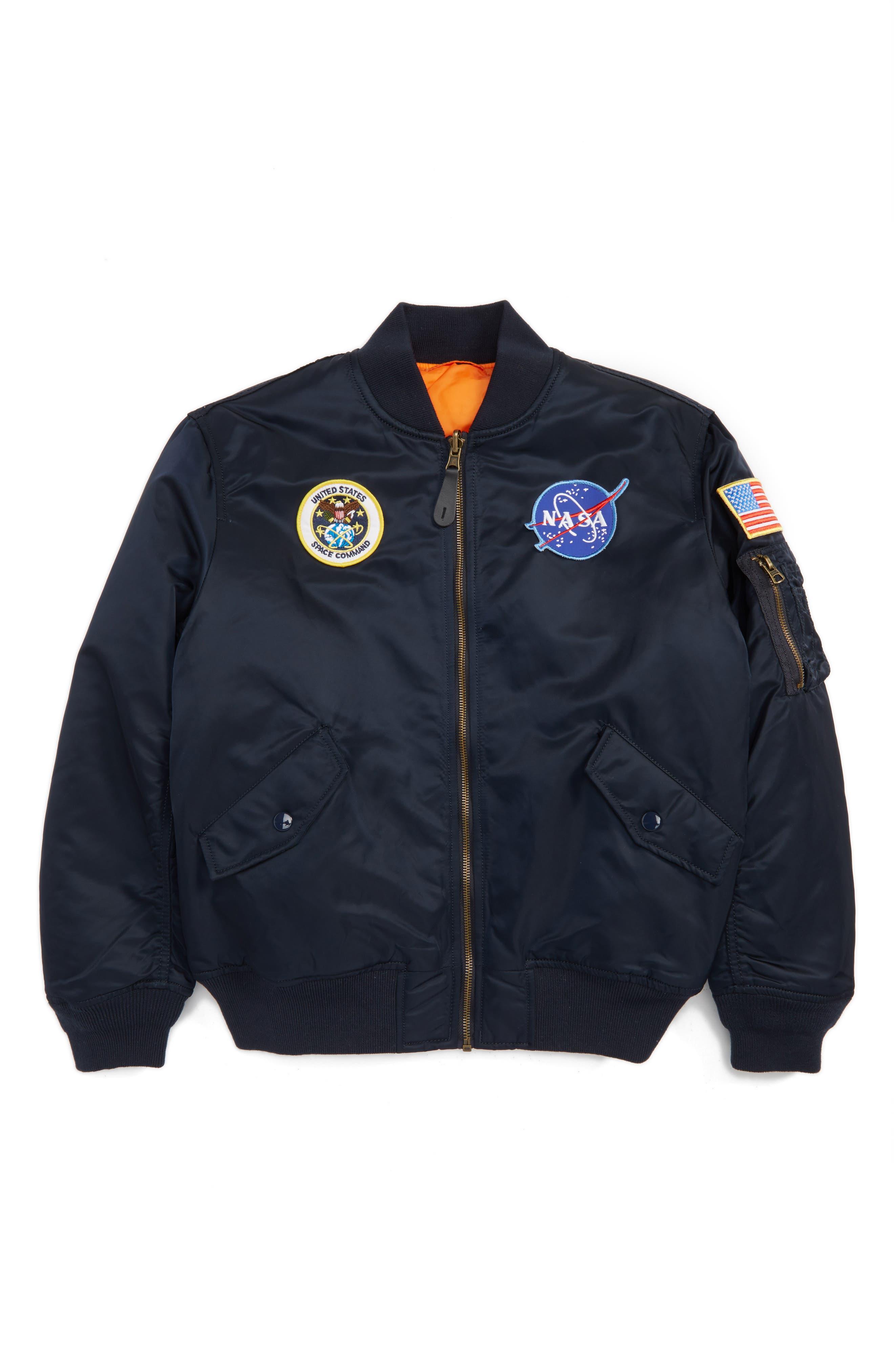 ALPHA INDUSTRIES, MA-1 Nasa Flight Reversible Jacket, Main thumbnail 1, color, REPLICA BLUE
