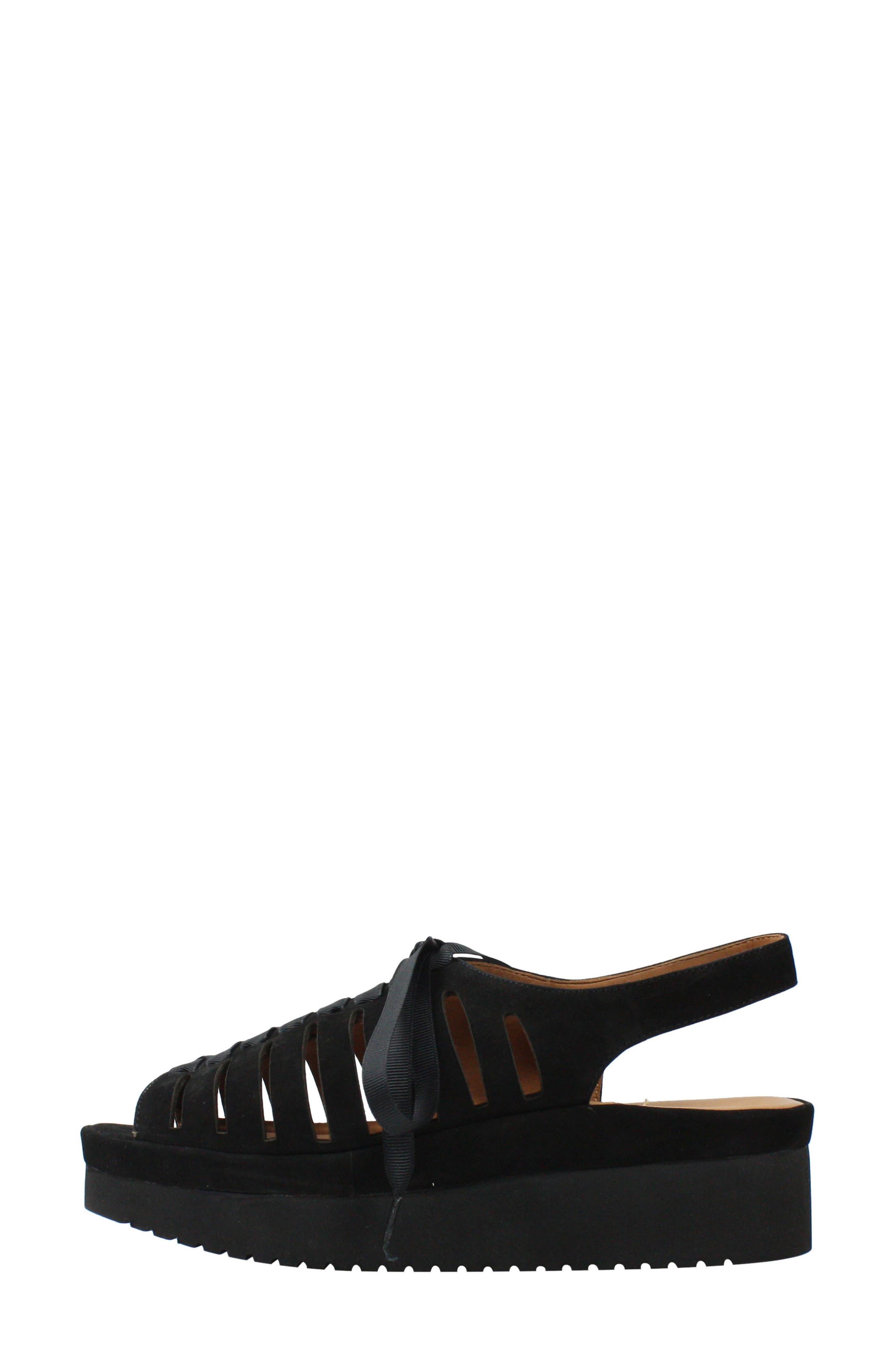 L'AMOUR DES PIEDS, Amarli Sandal, Alternate thumbnail 6, color, BLACK NUBUCK LEATHER