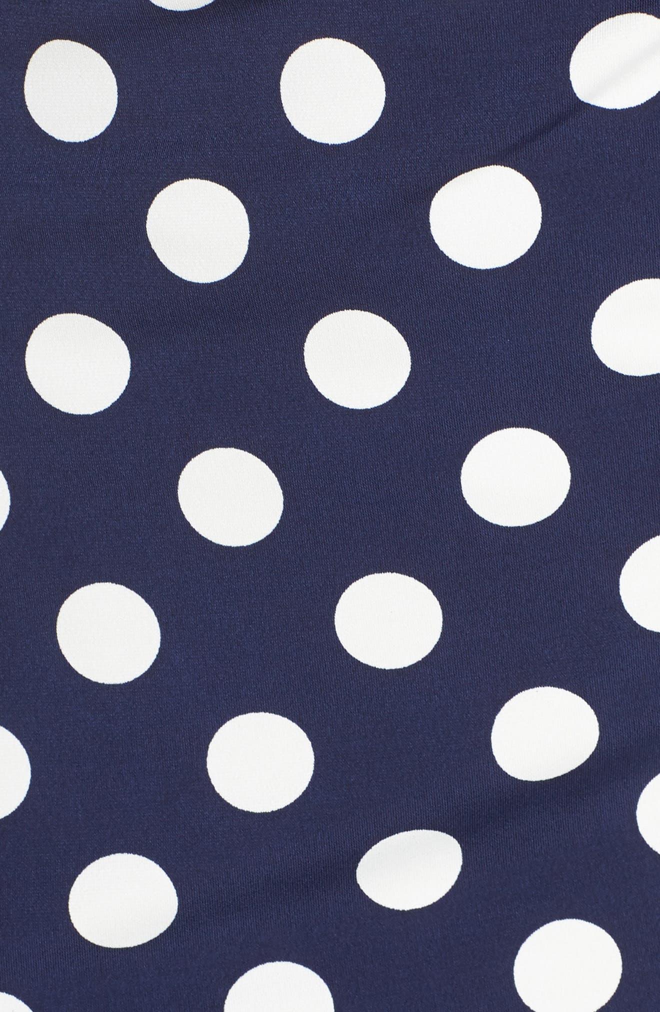 ELIZA J, Polka Dot Side Twist Sheath Dress, Alternate thumbnail 6, color, 407