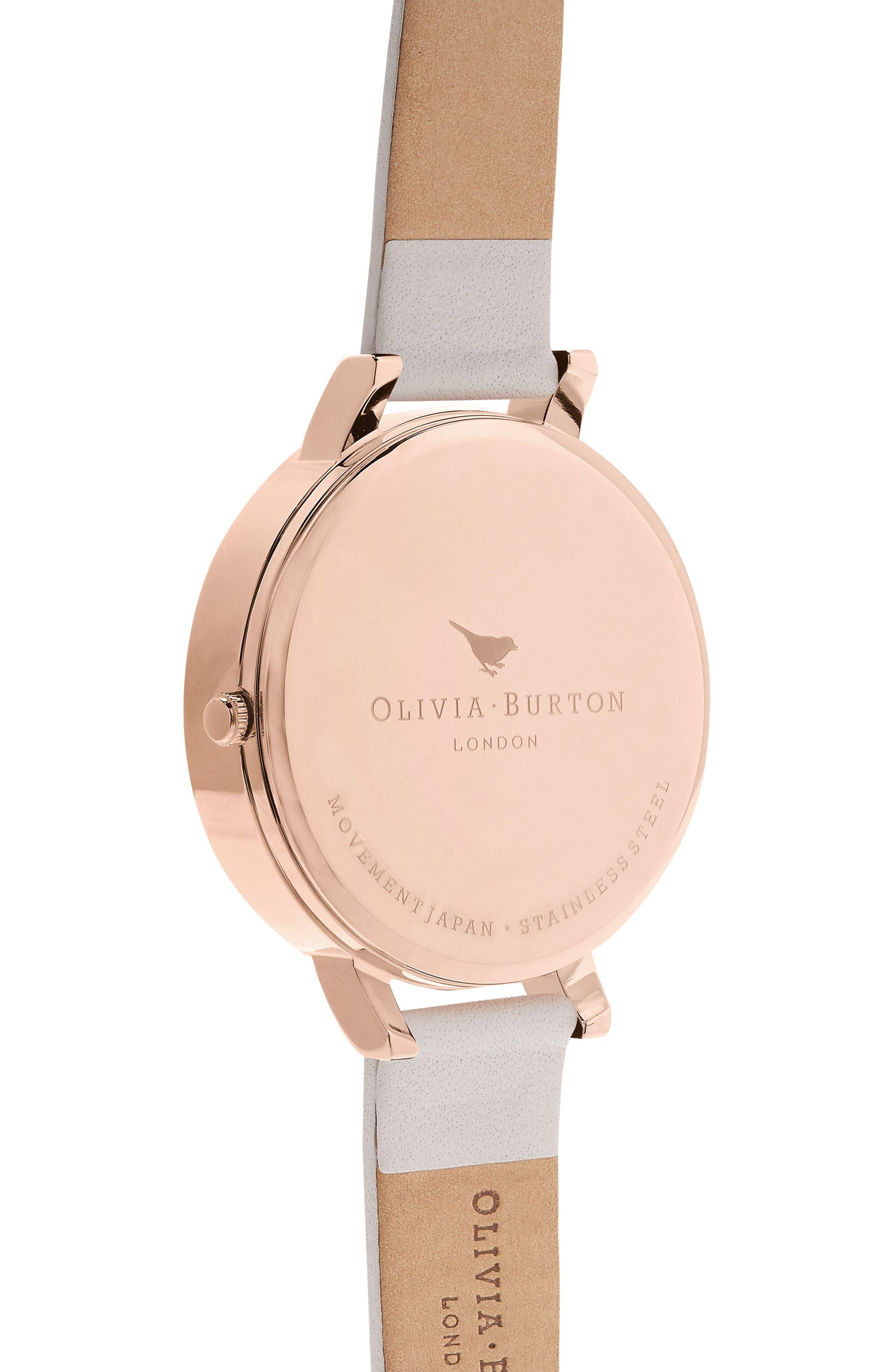 OLIVIA BURTON, Begin to Blush Leather Strap Watch, 38mm, Alternate thumbnail 2, color, 650