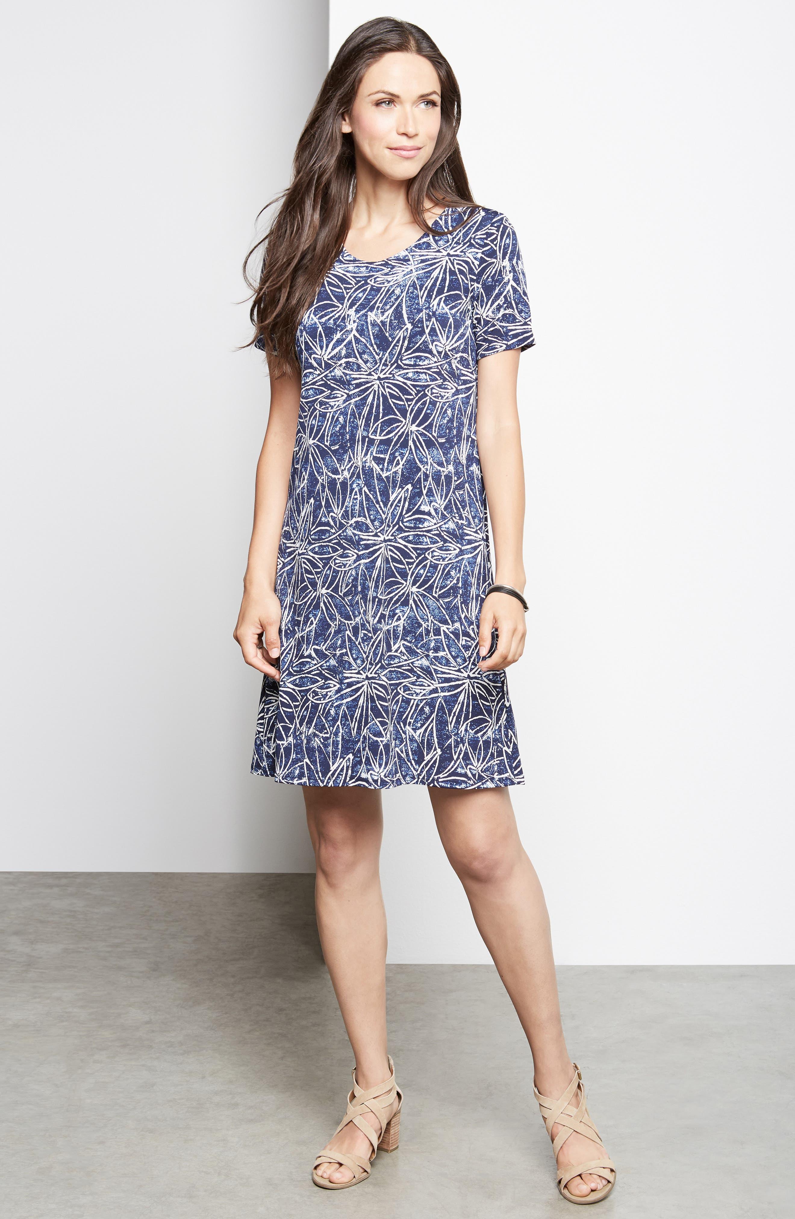 KAREN KANE, Floral Print Shift Dress, Alternate thumbnail 4, color, PRINT