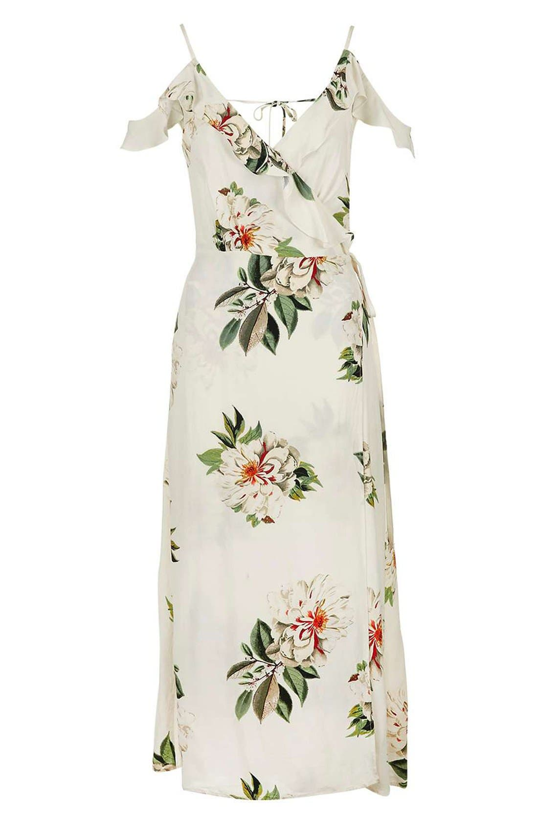 TOPSHOP, Floral Print Ruffle Cold Shoulder Wrap Maxi Dress, Alternate thumbnail 3, color, 900
