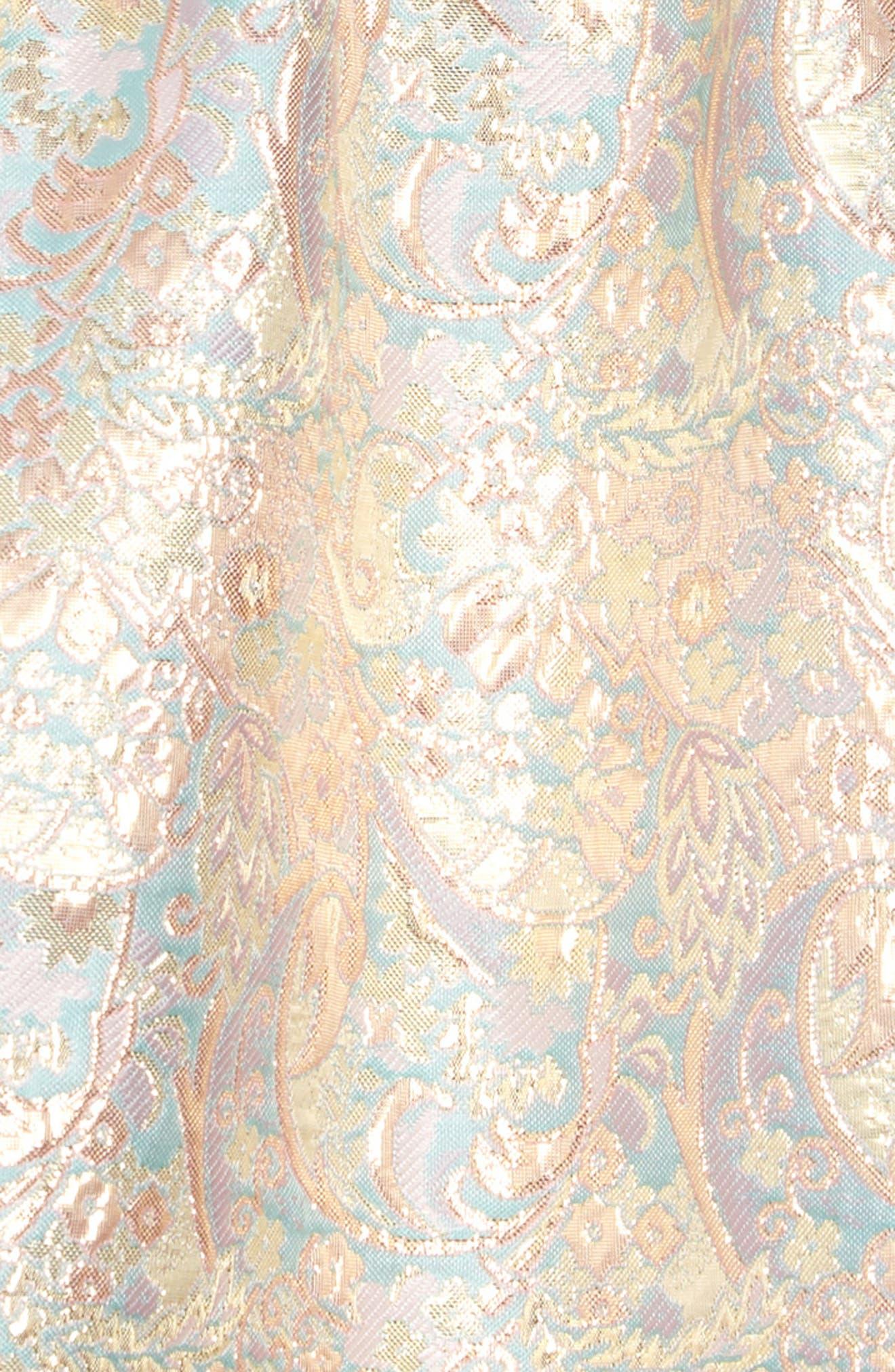 IRIS & IVY, Paisley Jacquard Bow Back Dress, Alternate thumbnail 3, color, BLUSH