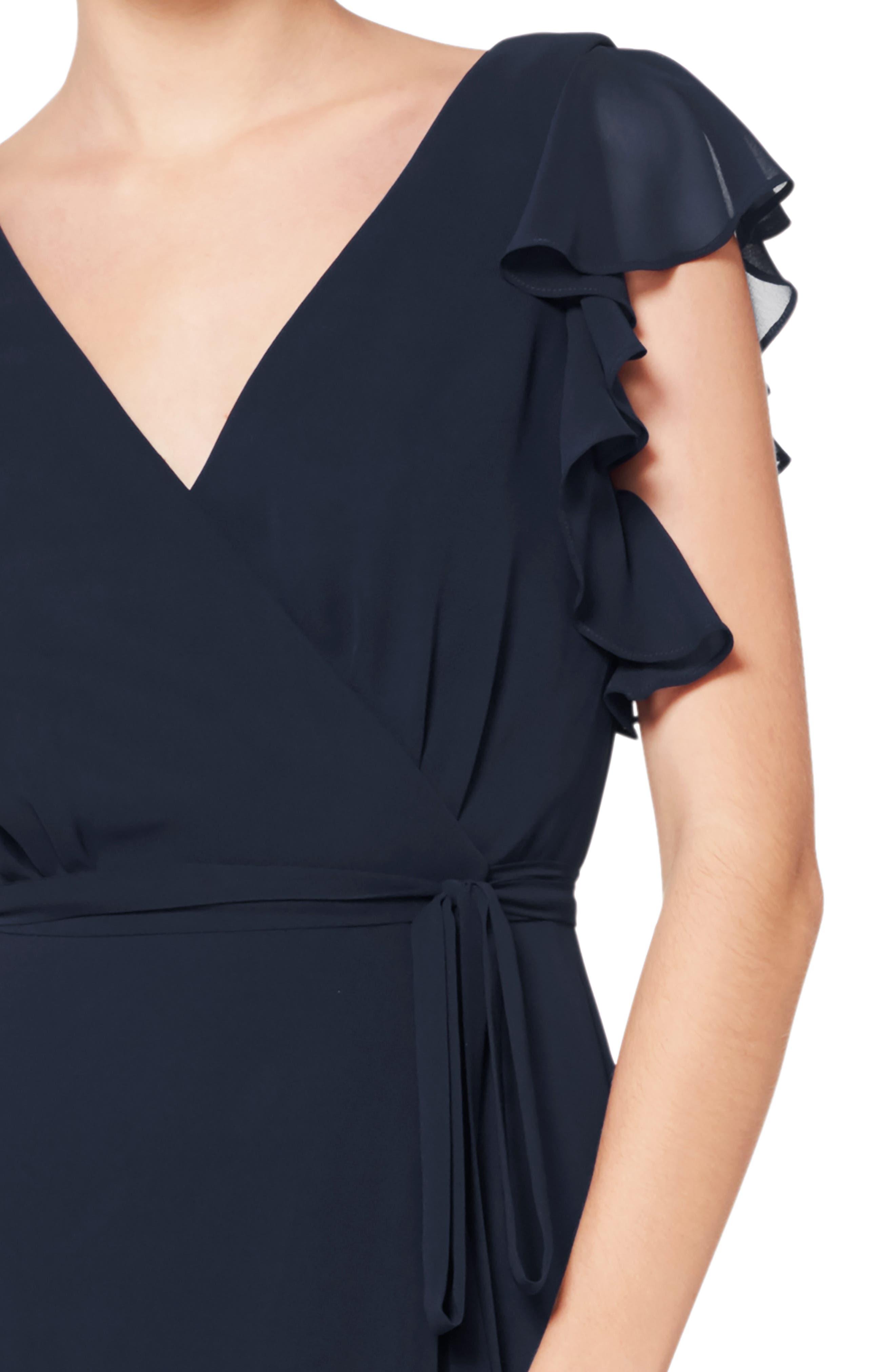 #LEVKOFF, Ruffle Sleeve Chiffon Wrap Evening Dress, Alternate thumbnail 3, color, NAVY