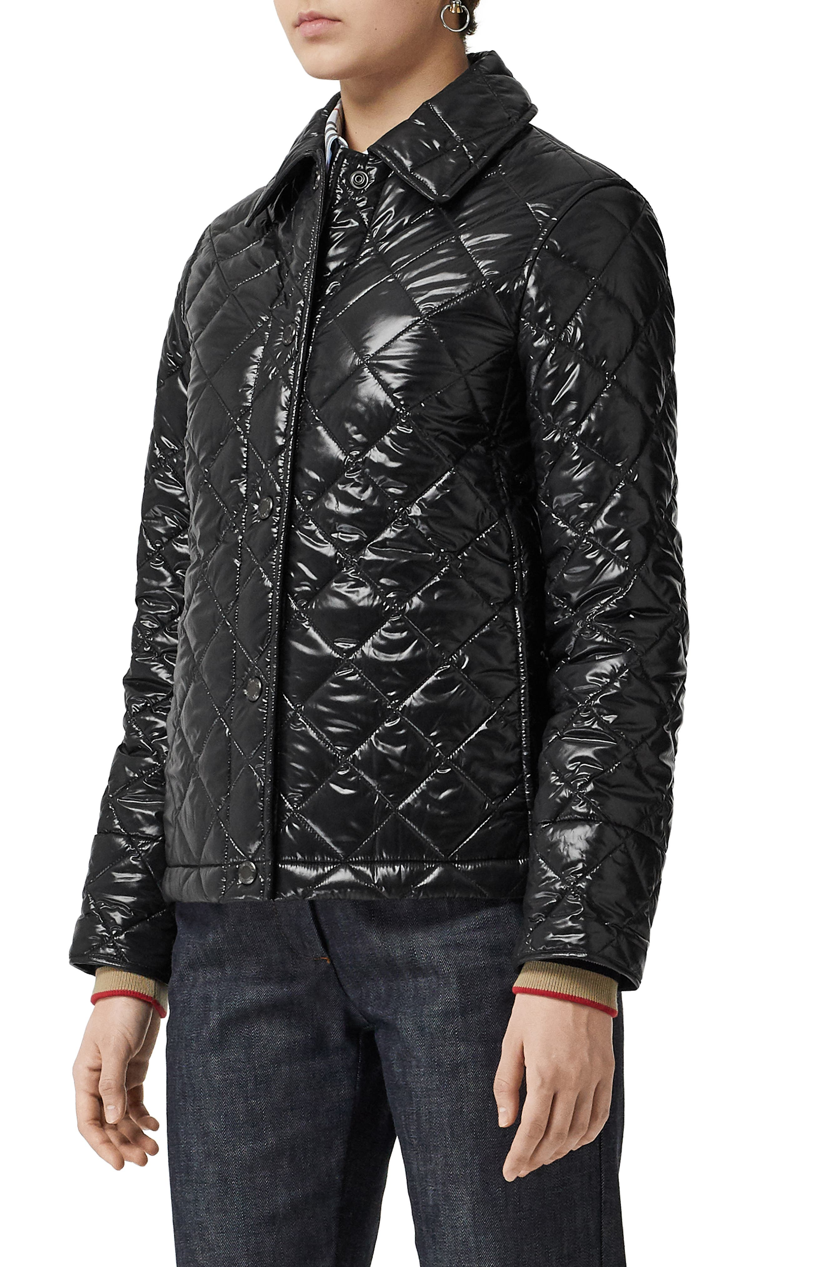 BURBERRY, Heathfield Frinton Knit Cuff Quilted Jacket, Alternate thumbnail 4, color, BLACK