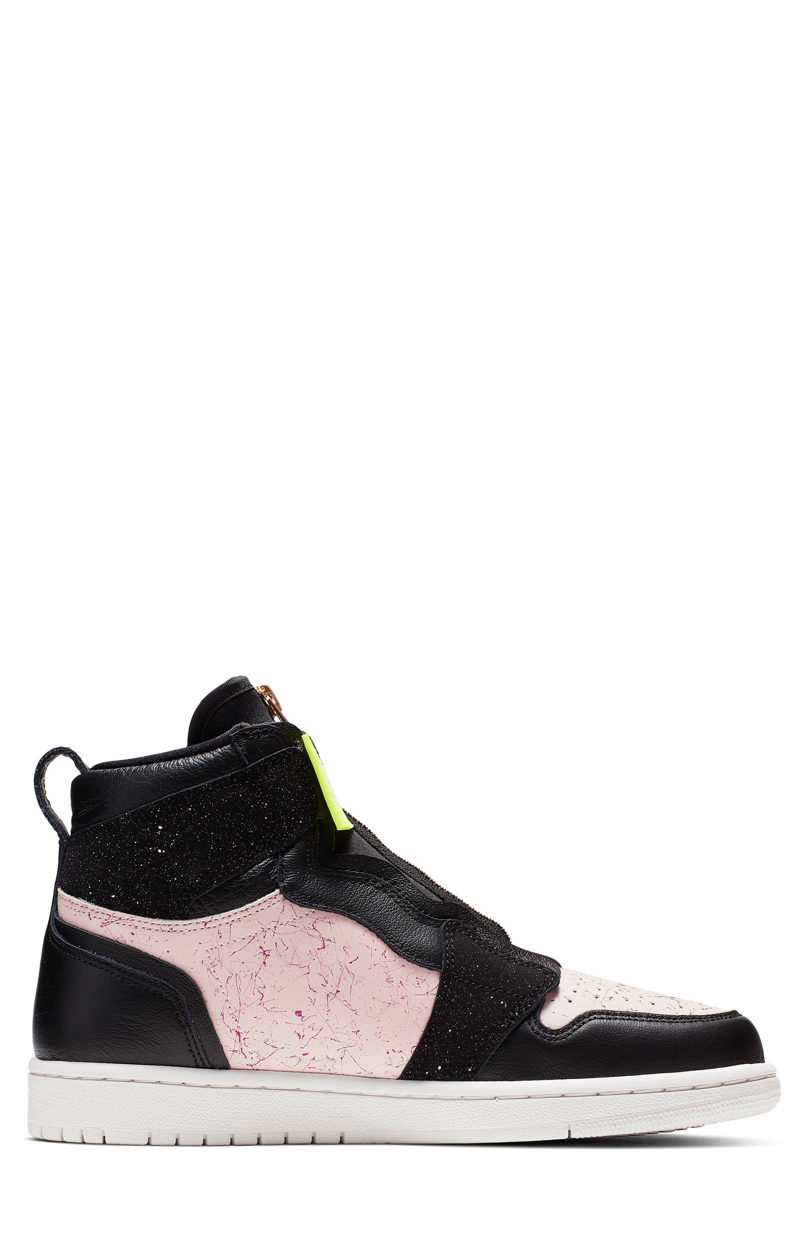 NIKE, Air Jordan 1 Zip High Top Sneakers, Alternate thumbnail 3, color, BLACK/ GOLD/ PHANTOM/ RED