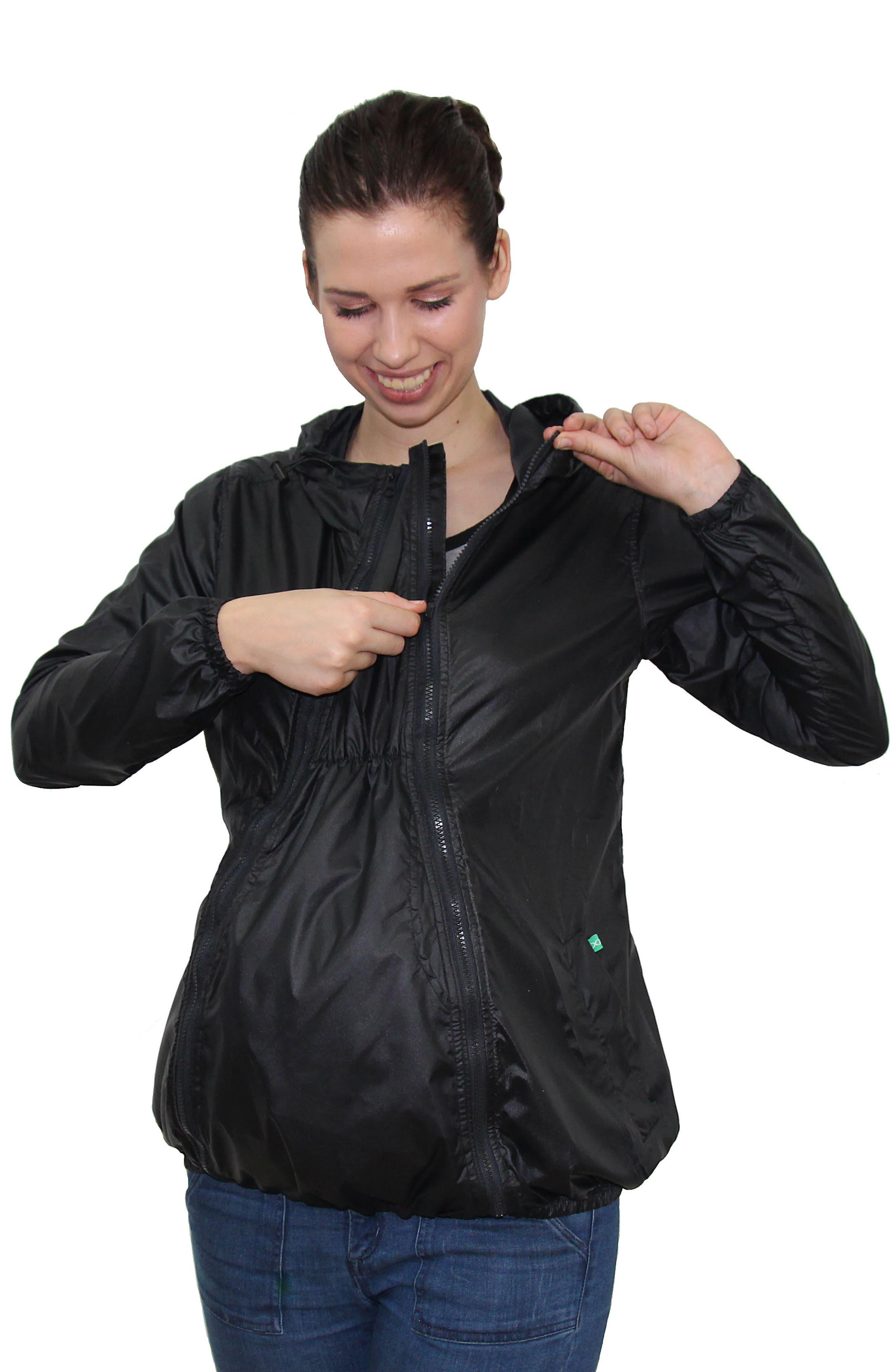 MODERN ETERNITY, Waterproof Convertible 3-in-1 Maternity Windbreaker, Alternate thumbnail 7, color, BLACK