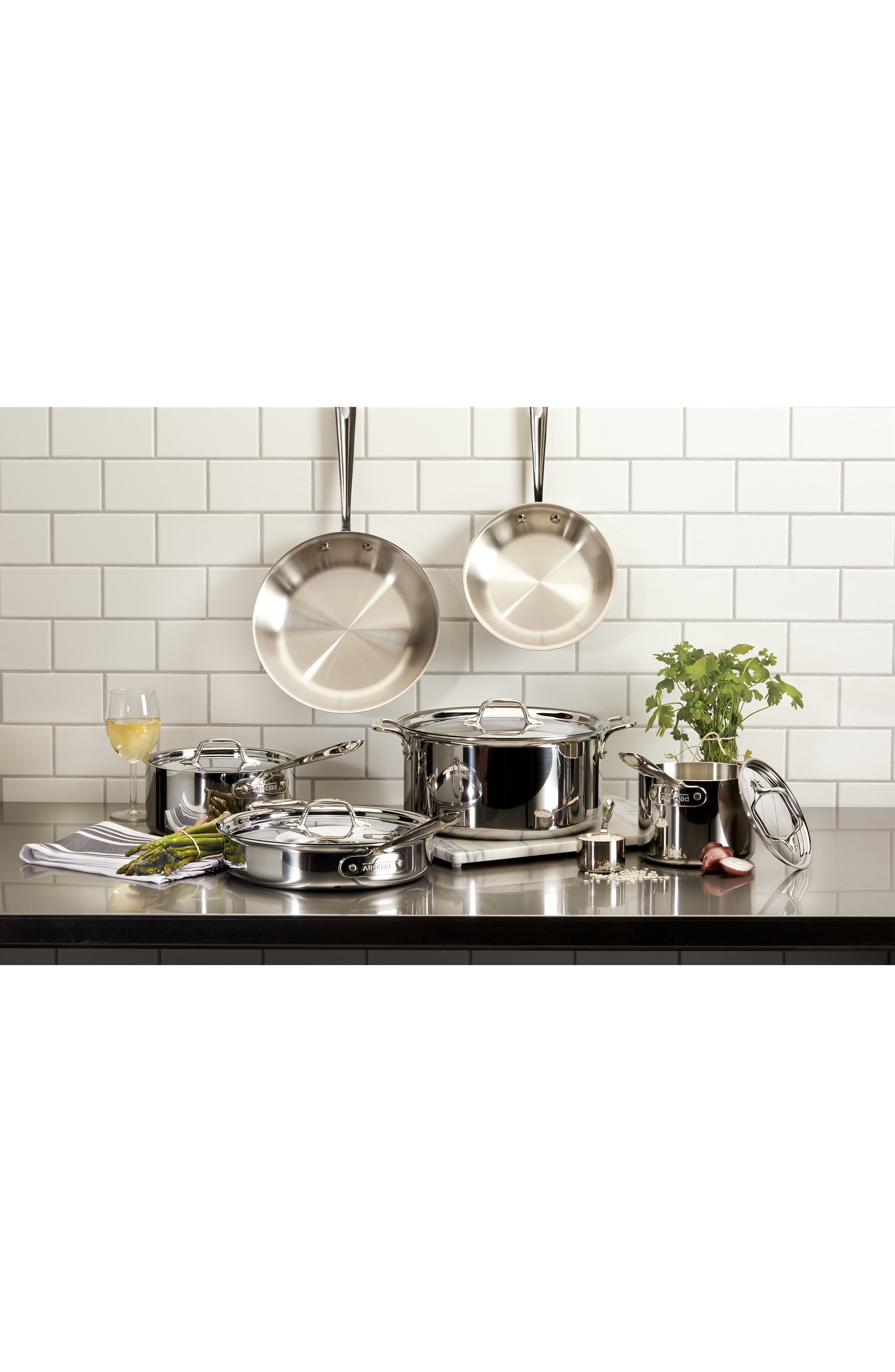 ALL-CLAD, 10-Piece Stainless Steel Cookware Set, Alternate thumbnail 2, color, STAINLESS