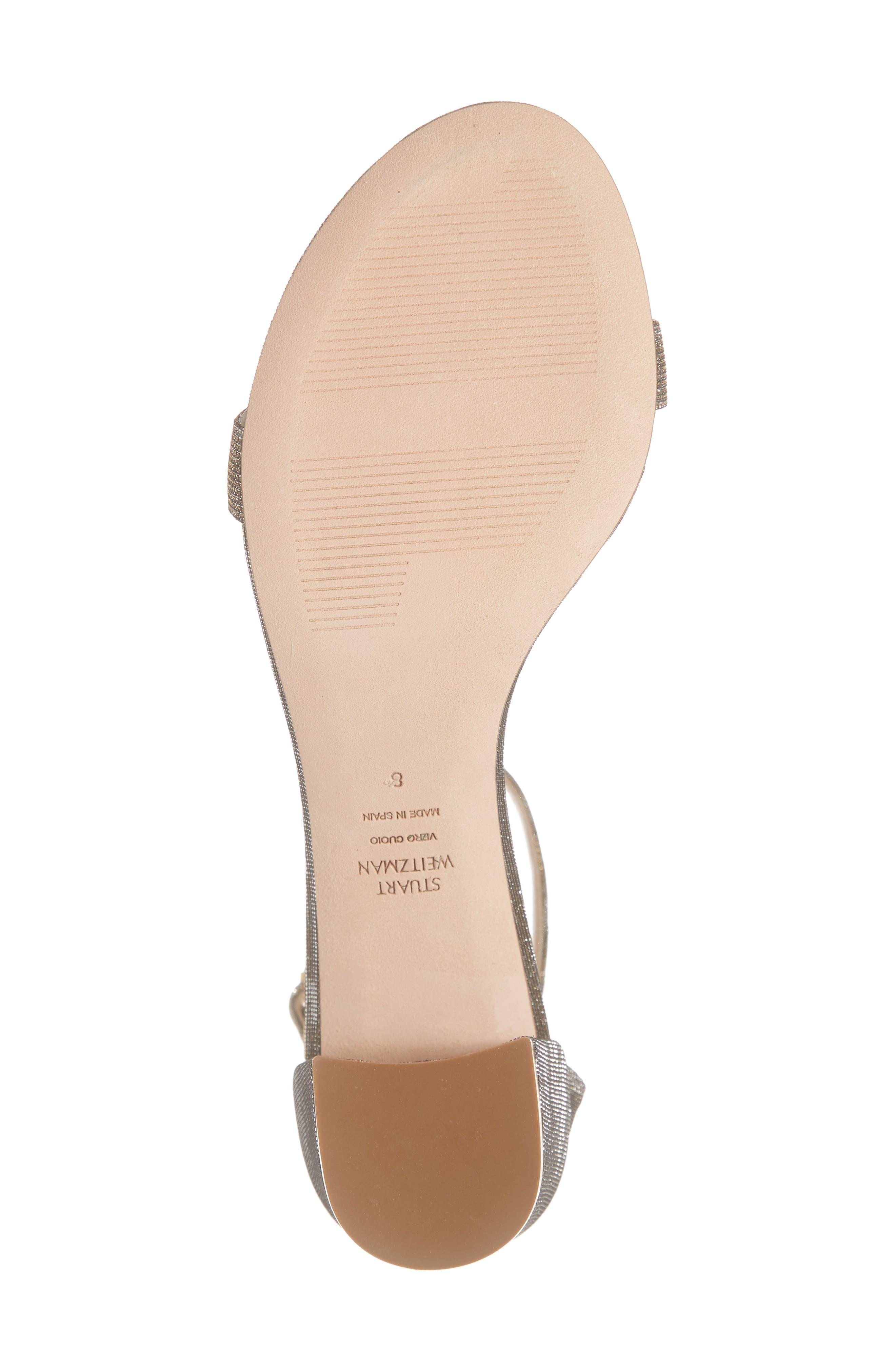 STUART WEITZMAN, Simple Ankle Strap Sandal, Alternate thumbnail 6, color, GOLD NIGHTTIME