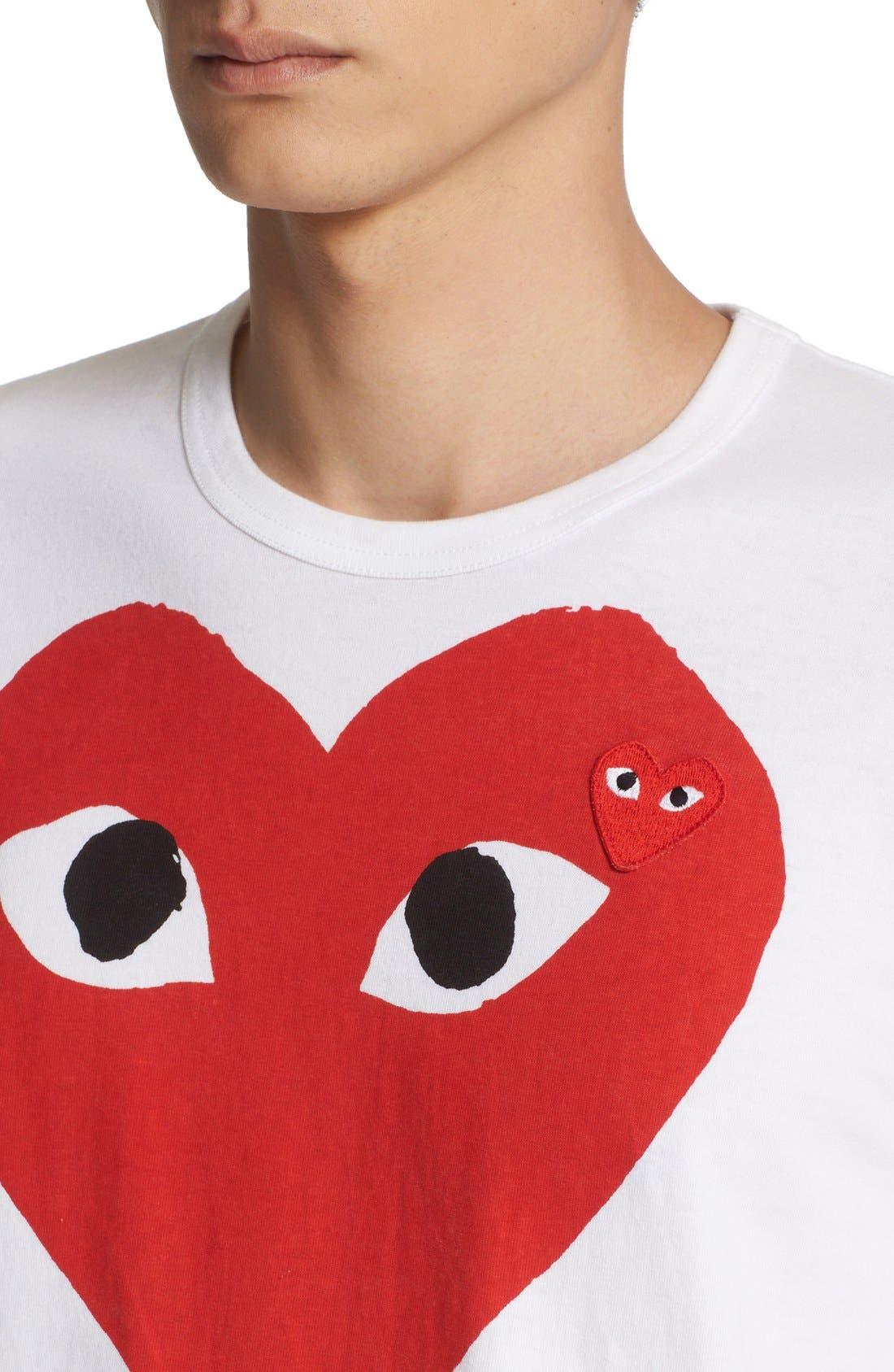 COMME DES GARÇONS PLAY, Heart Face Graphic T-Shirt, Alternate thumbnail 4, color, WHITE
