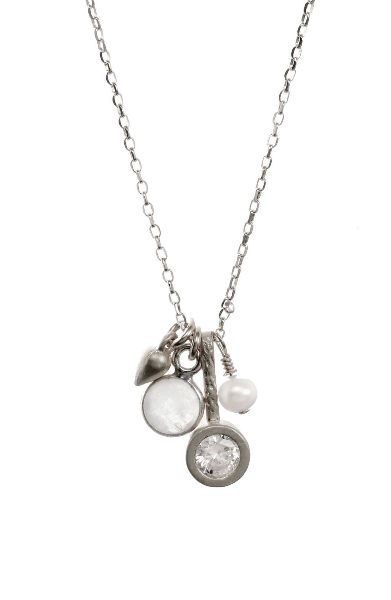 DOGEARED, All Good Things Moonstone Pendant Necklace, Alternate thumbnail 3, color, 040