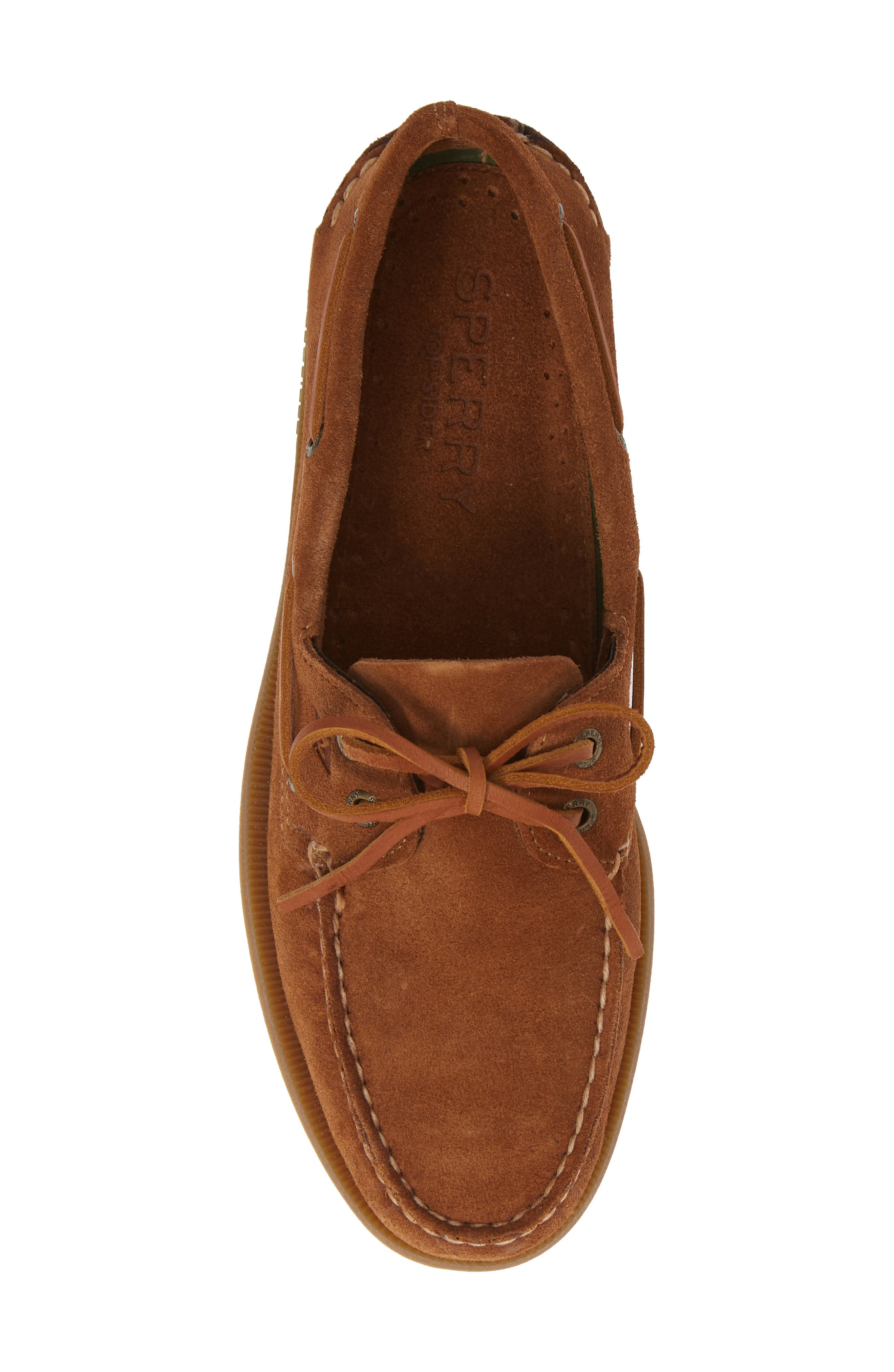 SPERRY, Original Suede Boat Shoe, Alternate thumbnail 5, color, DARK TAN SUEDE