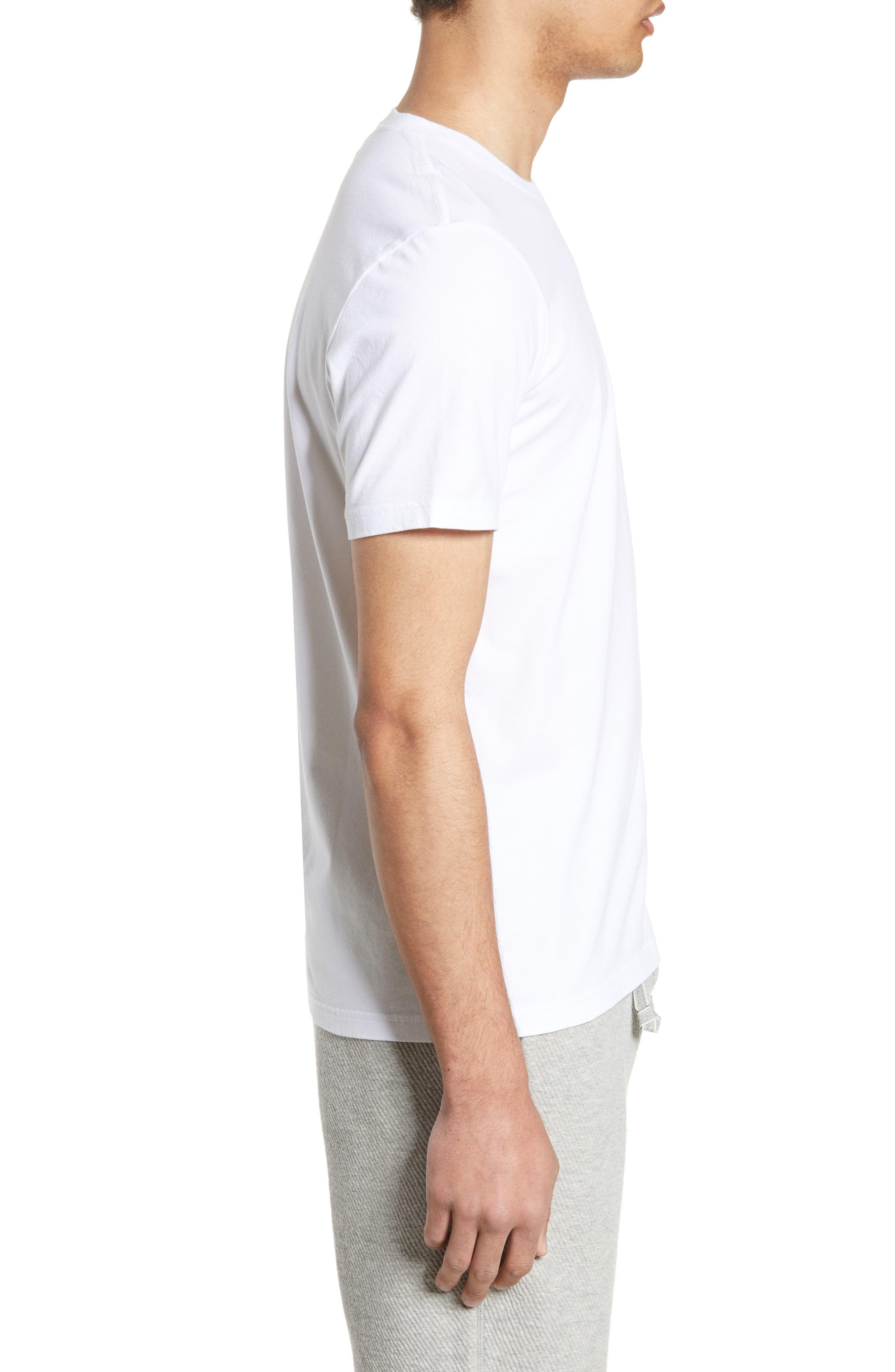 WINGS + HORNS, Short Sleeve Crewneck T-Shirt, Alternate thumbnail 3, color, WHITE