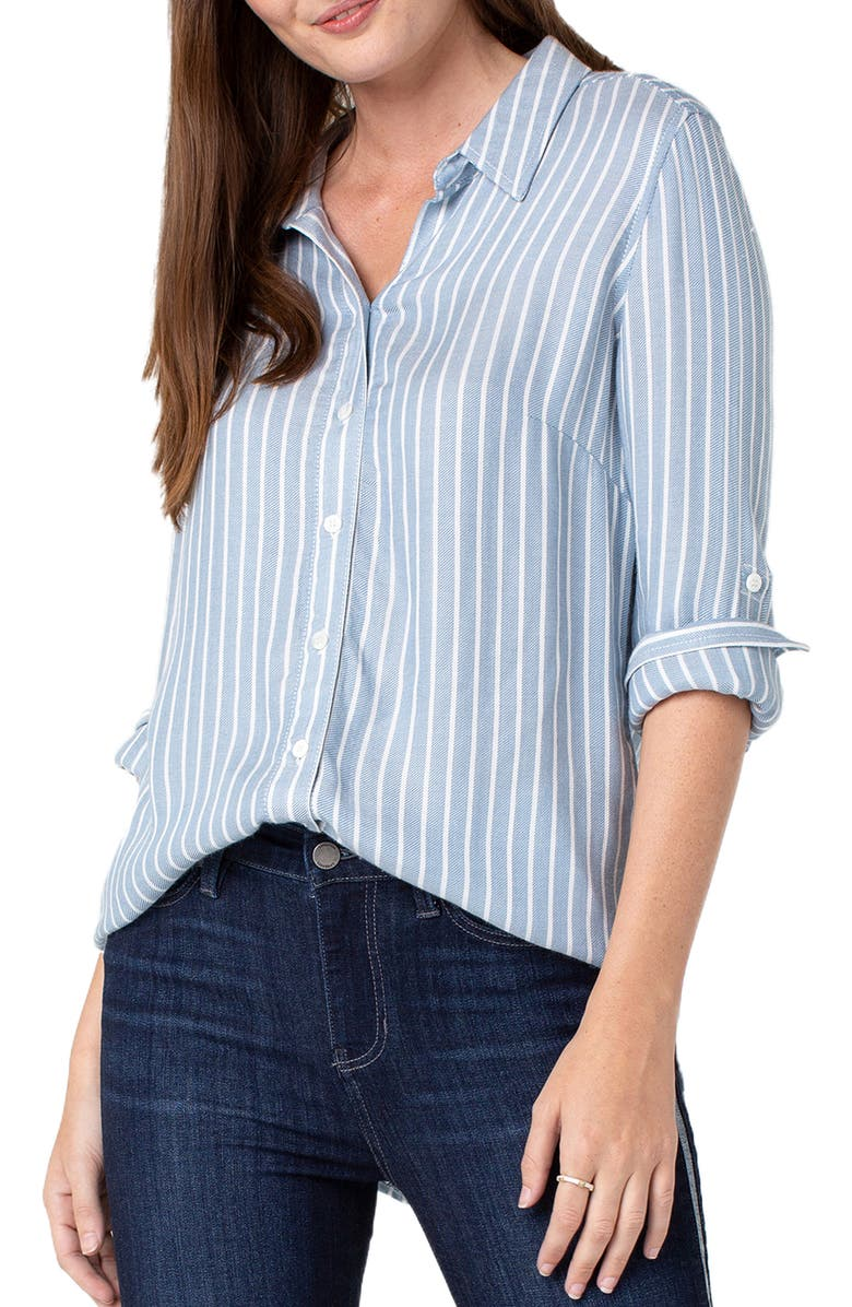 Liverpool Tops STRIPE BACK BUTTON DETAIL BLOUSE
