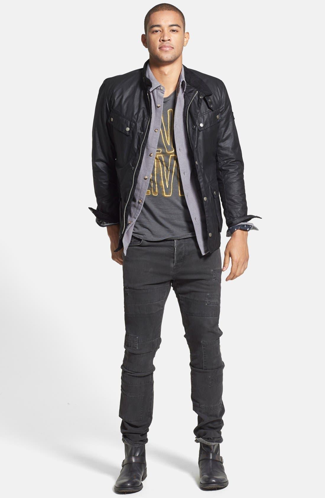 BARBOUR, 'Duke' Regular Fit Waterproof Waxed Cotton Jacket, Alternate thumbnail 6, color, BLACK