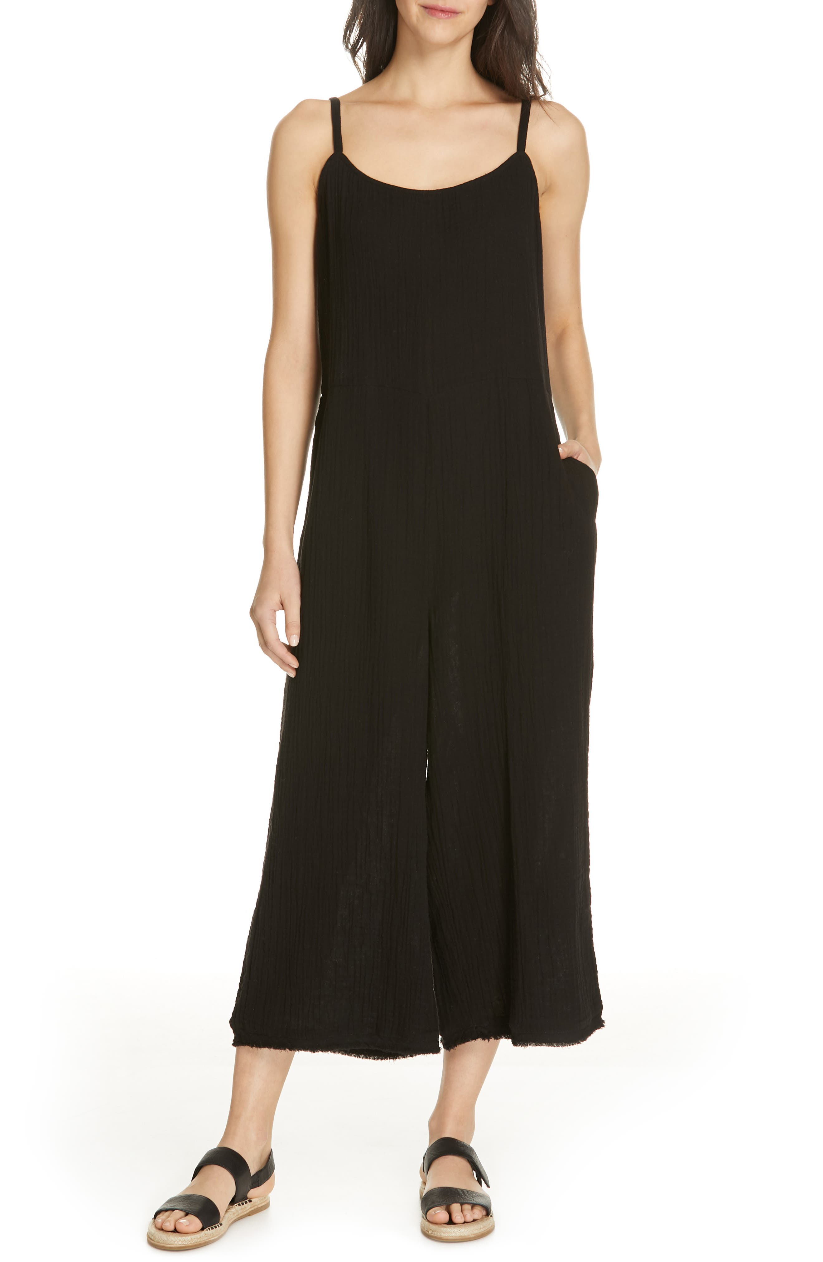 EILEEN FISHER, Camisole Jumpsuit, Main thumbnail 1, color, 001