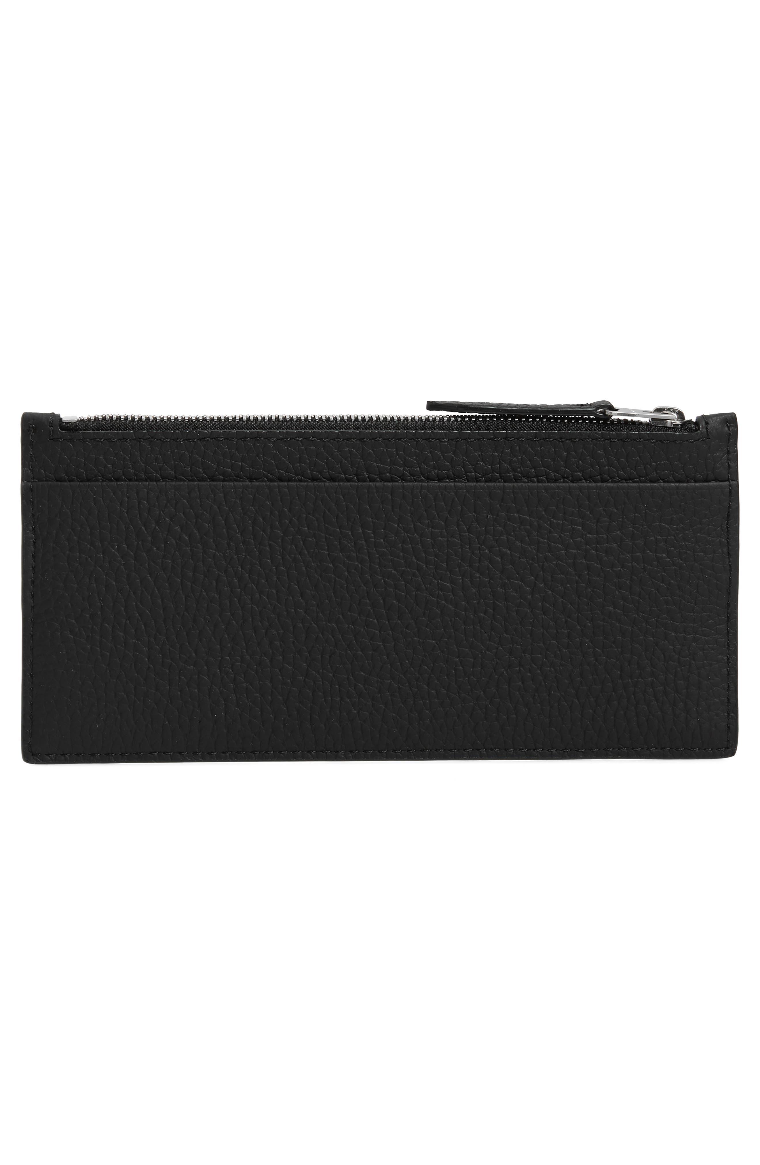 ALLSAINTS, Clip Lea Zip Leather Card Holder, Alternate thumbnail 2, color, BLACK