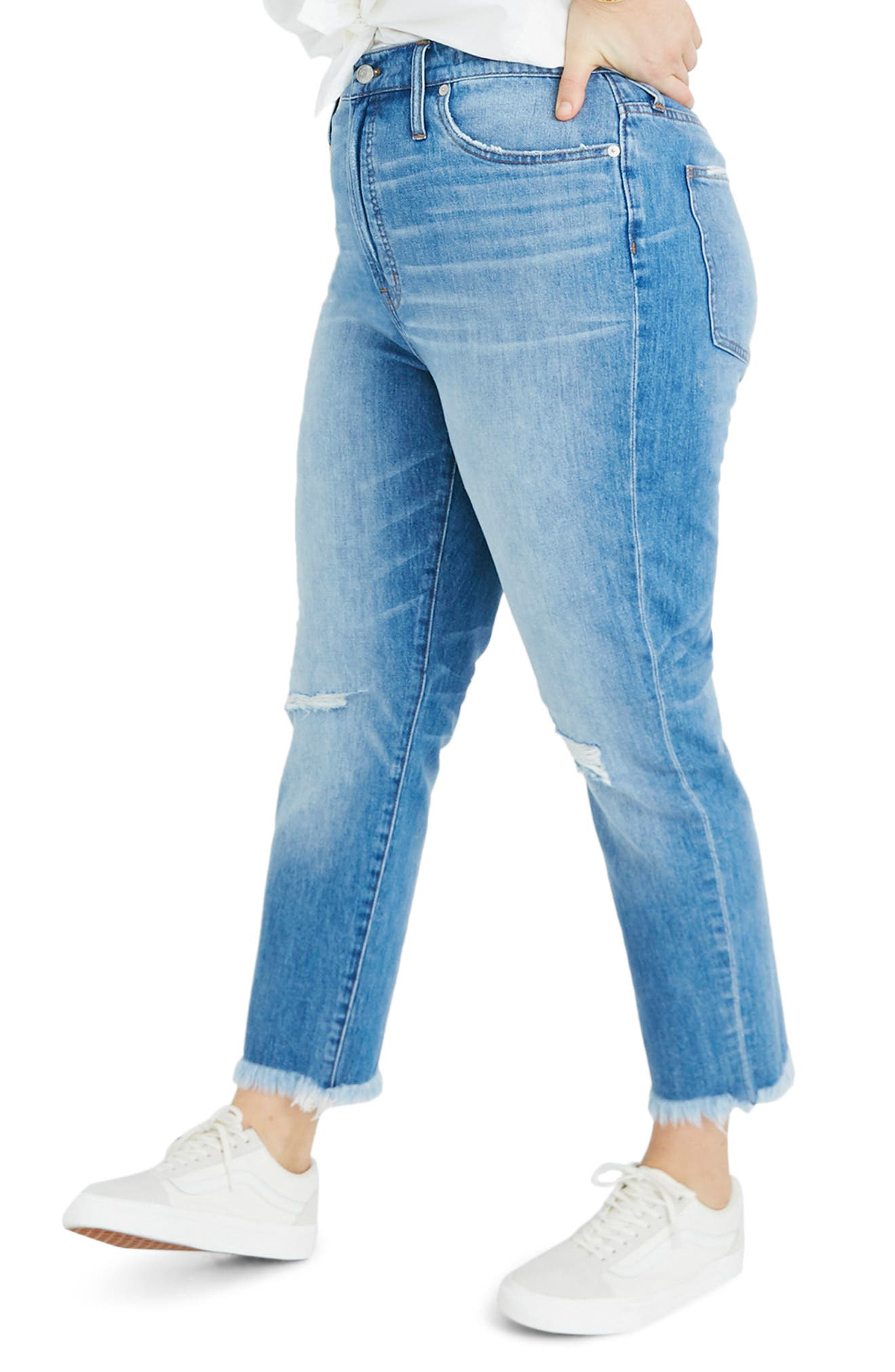 MADEWELL, The Perfect Vintage Crop High Waist Jeans, Alternate thumbnail 8, color, PARNELL WASH