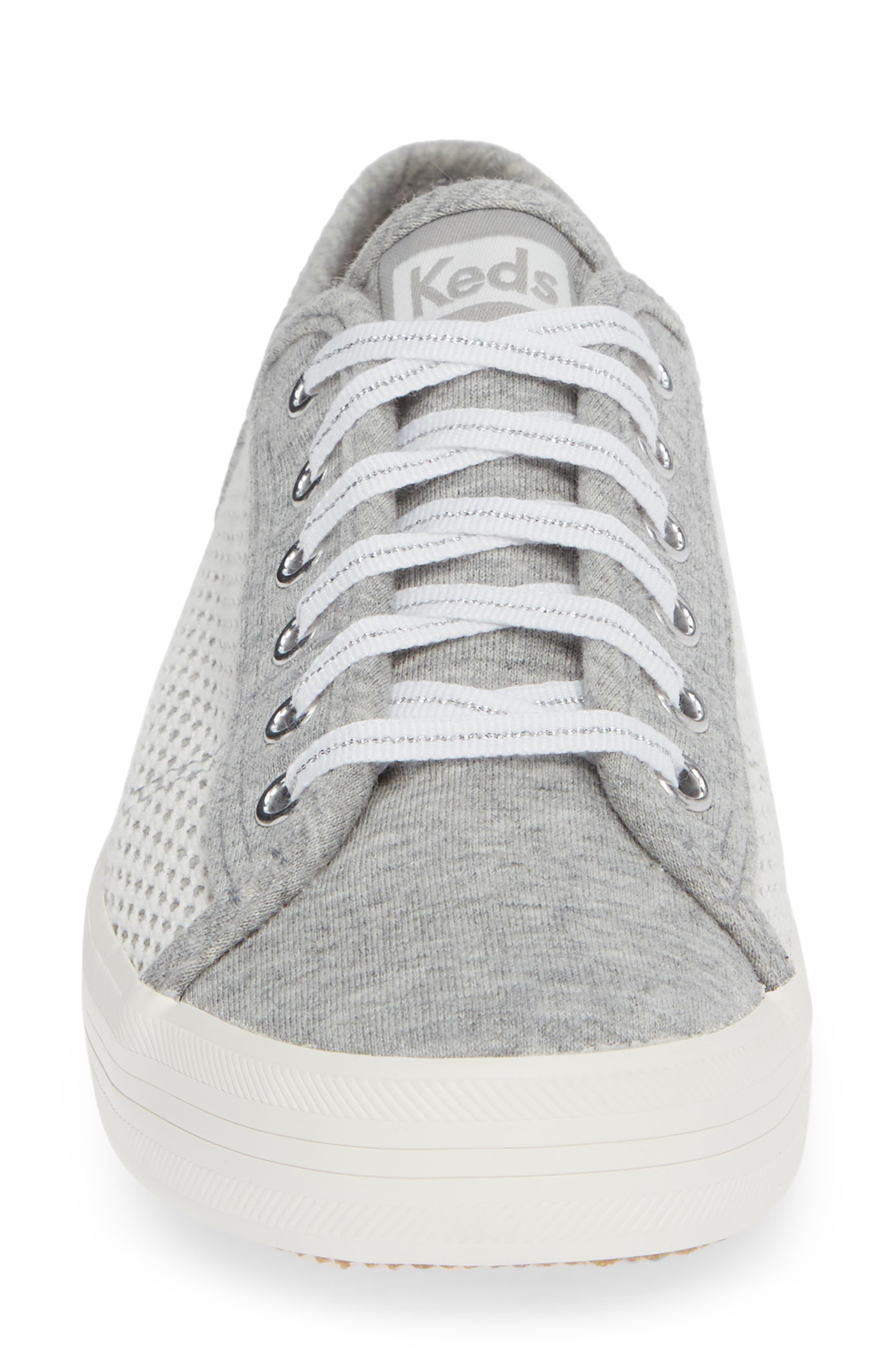 KEDS<SUP>®</SUP>, Kickstart Mesh & Jersey Sneaker, Alternate thumbnail 4, color, LIGHT GRAY