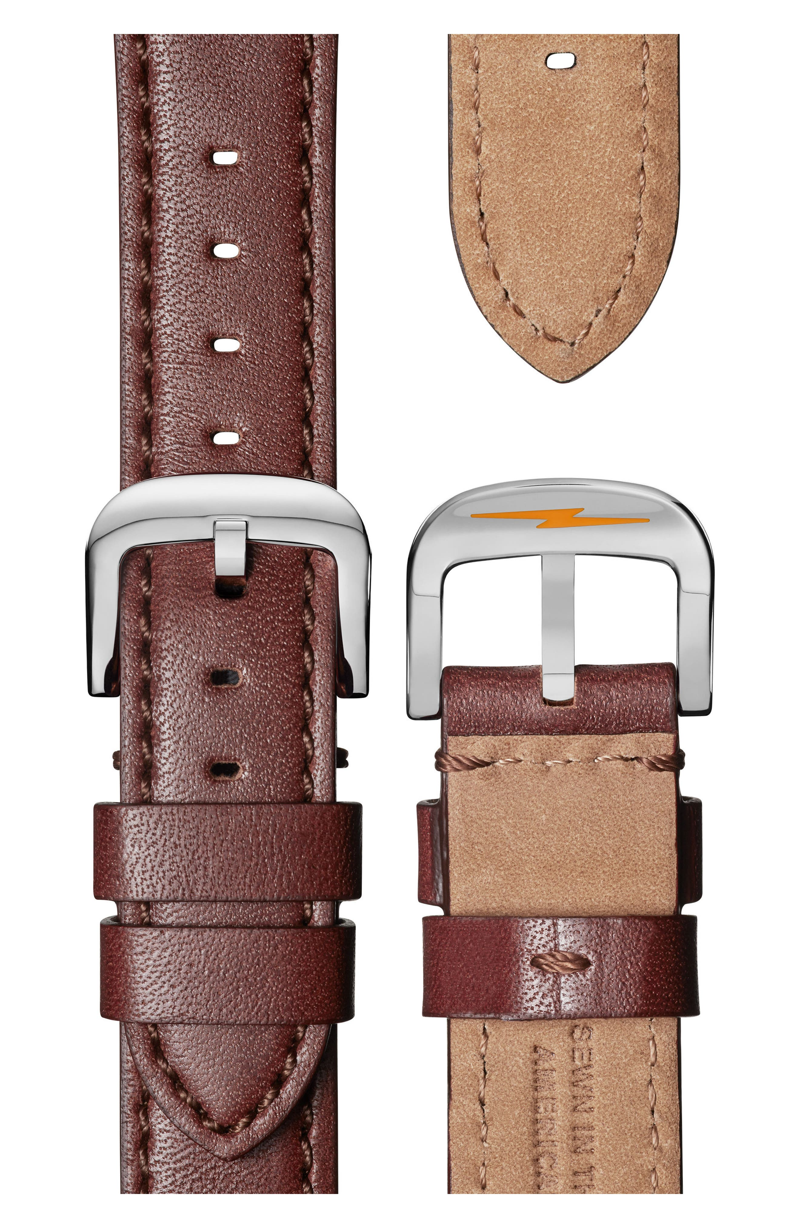SHINOLA, The Canfield Chrono Leather Strap Watch, 40mm, Alternate thumbnail 4, color, DARK COGNAC/ BLUE/ SILVER
