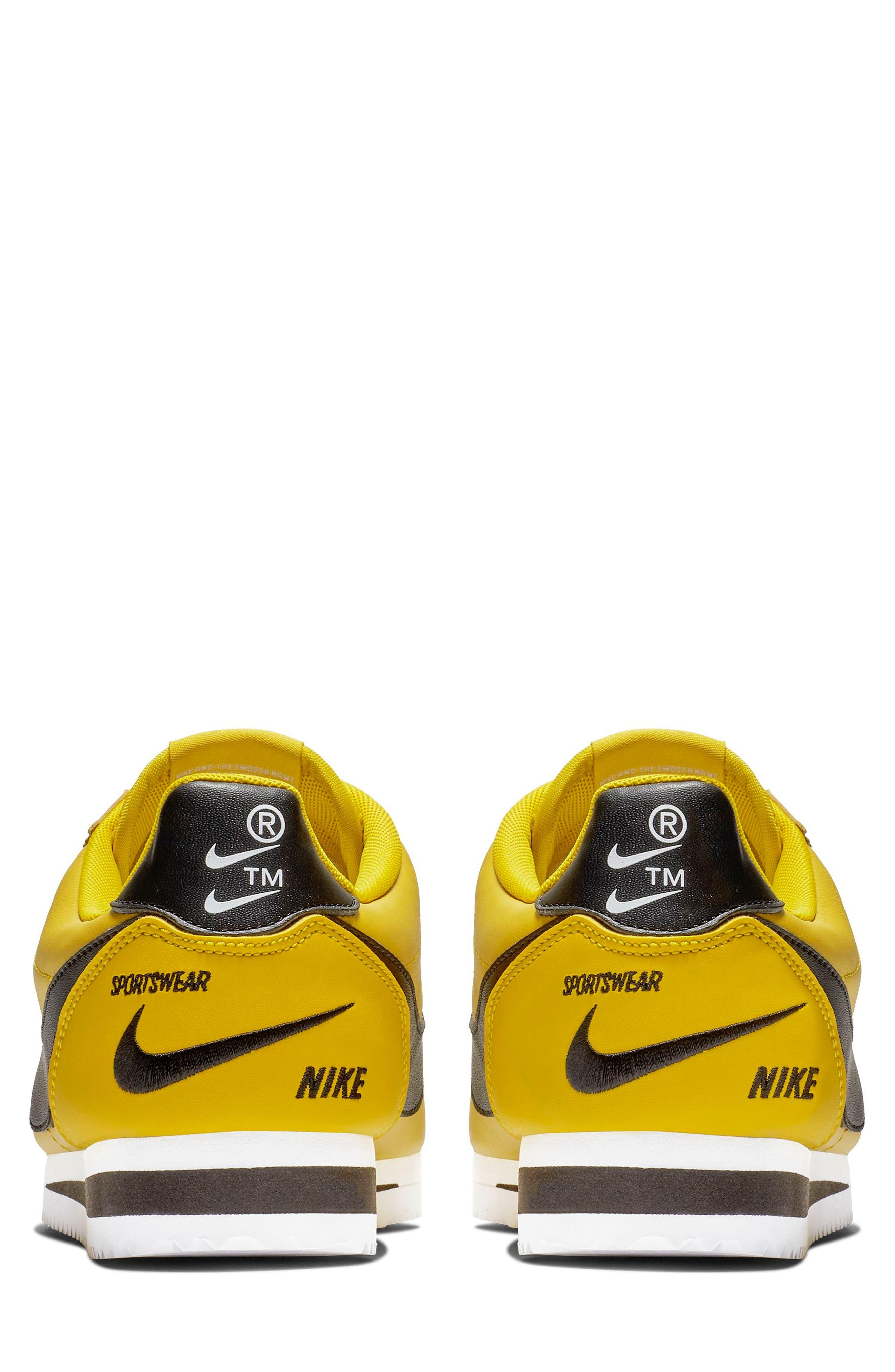 NIKE, Classic Cortez Premium Sneaker, Alternate thumbnail 2, color, BRIGHT CITRON/ BLACK/ WHITE