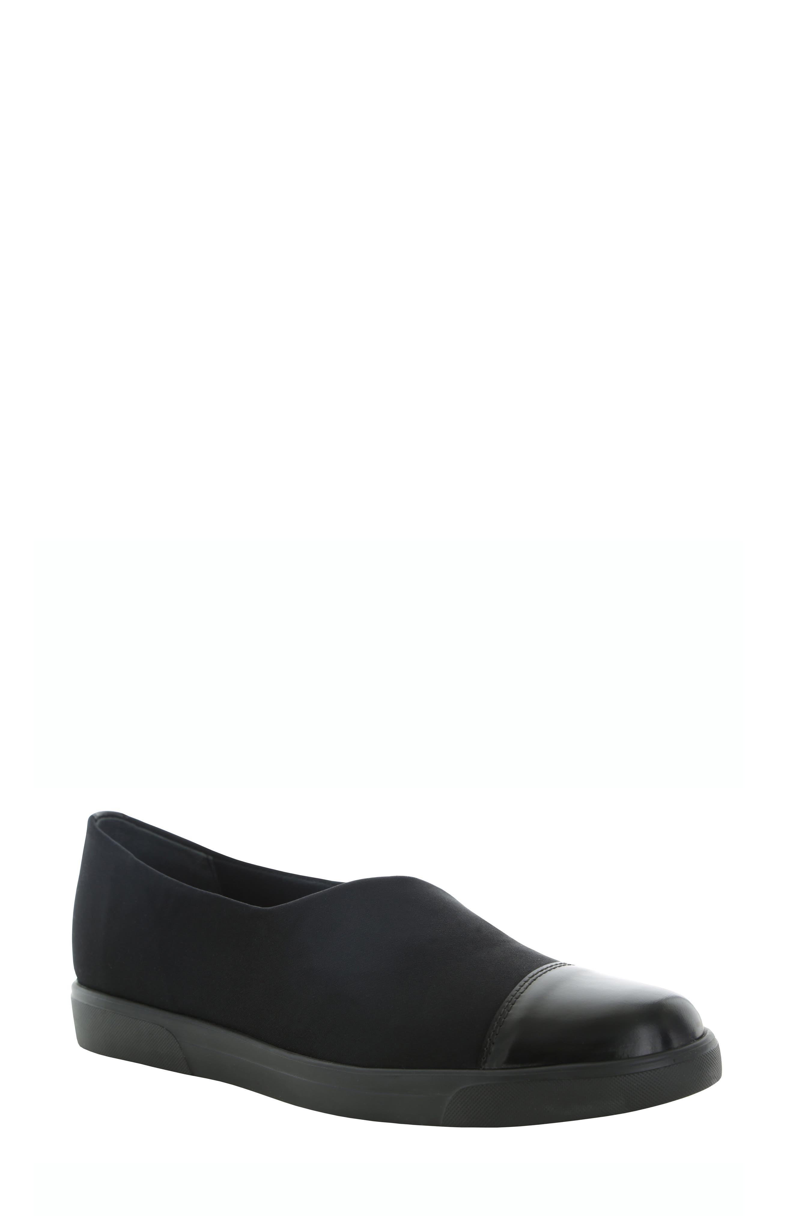 MUNRO Plum Slip-On Flat, Main, color, BLACK STRETCH FABRIC