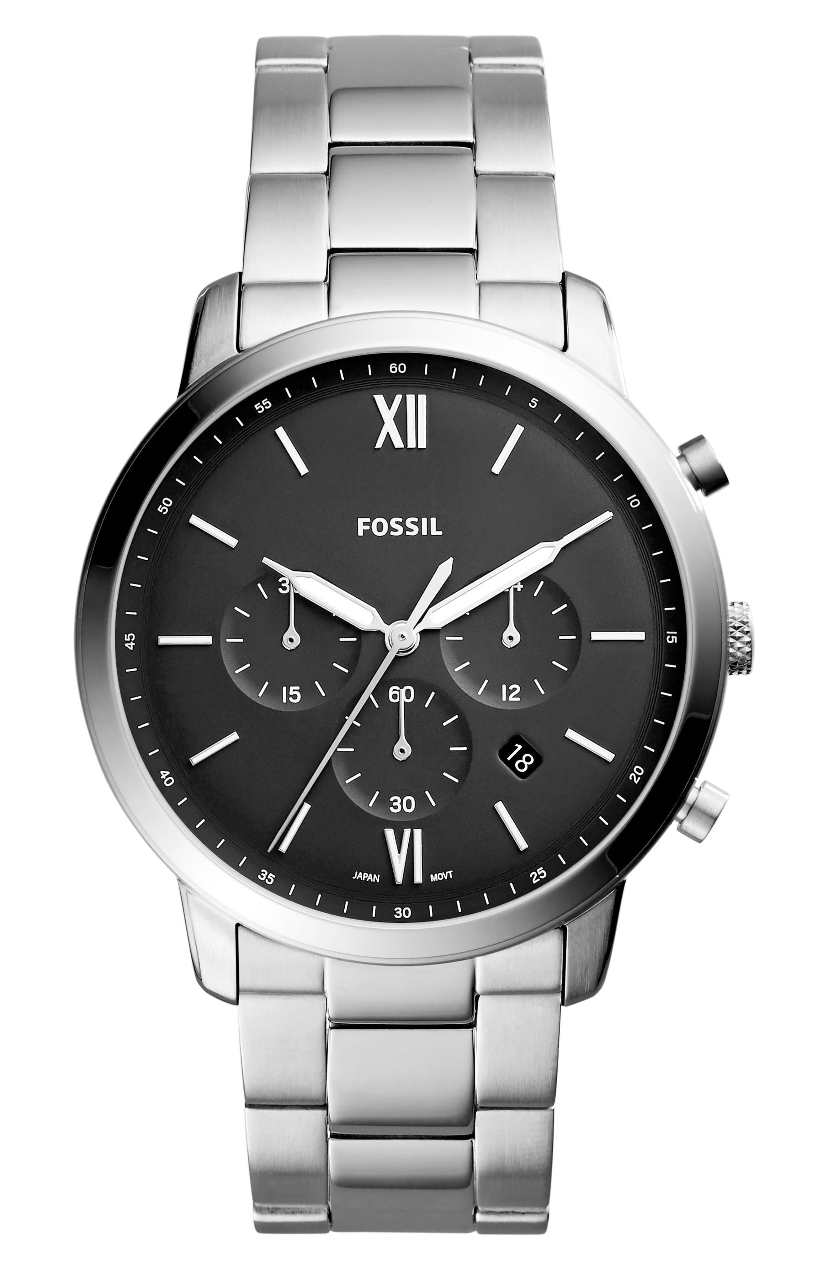 FOSSIL, Neutra Chronograph Bracelet Watch, 44mm, Main thumbnail 1, color, SILVER/ BLACK/ SILVER