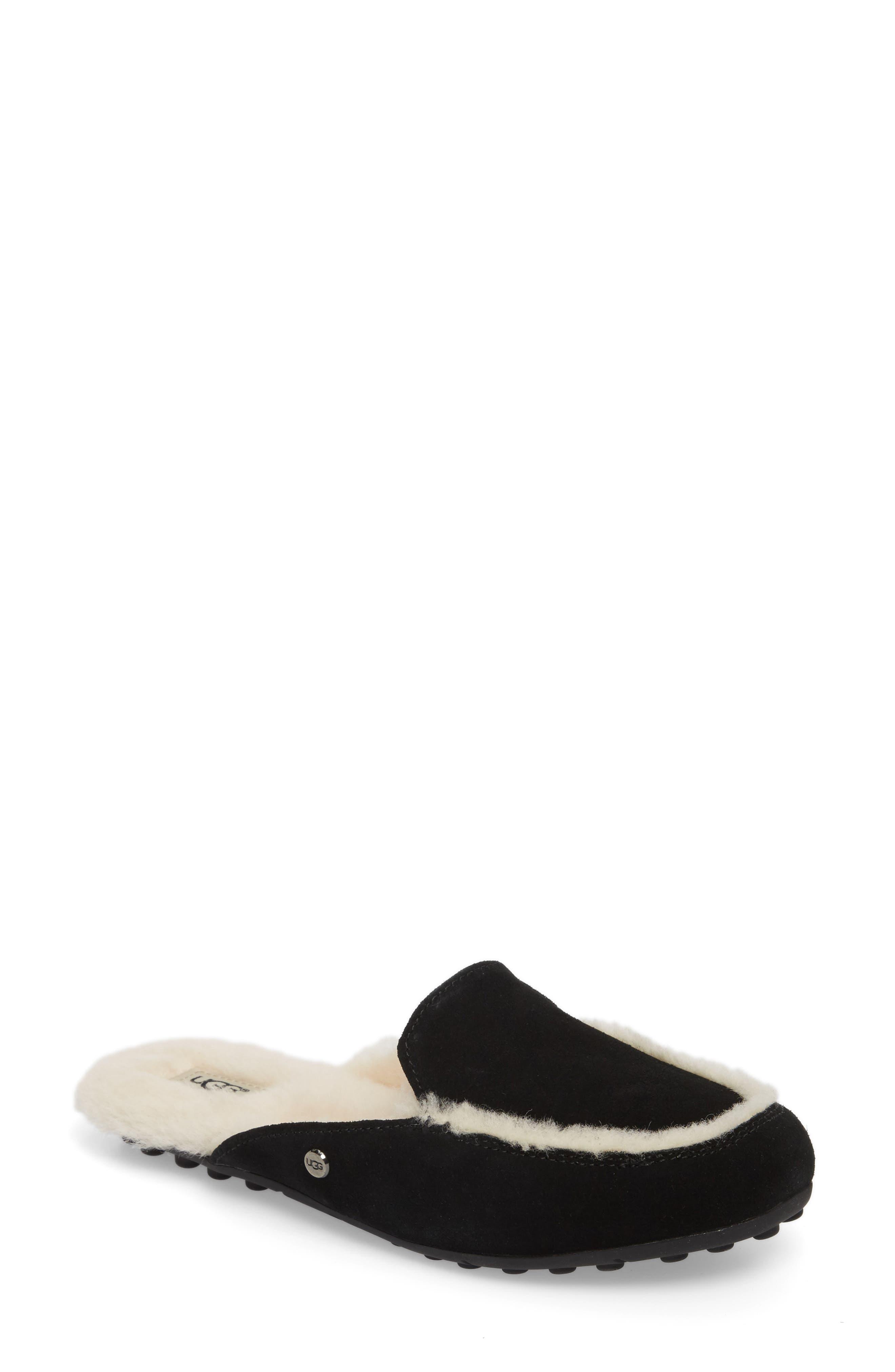 UGG<SUP>®</SUP> Lane Genuine Shearling Slipper, Main, color, BLACK SUEDE