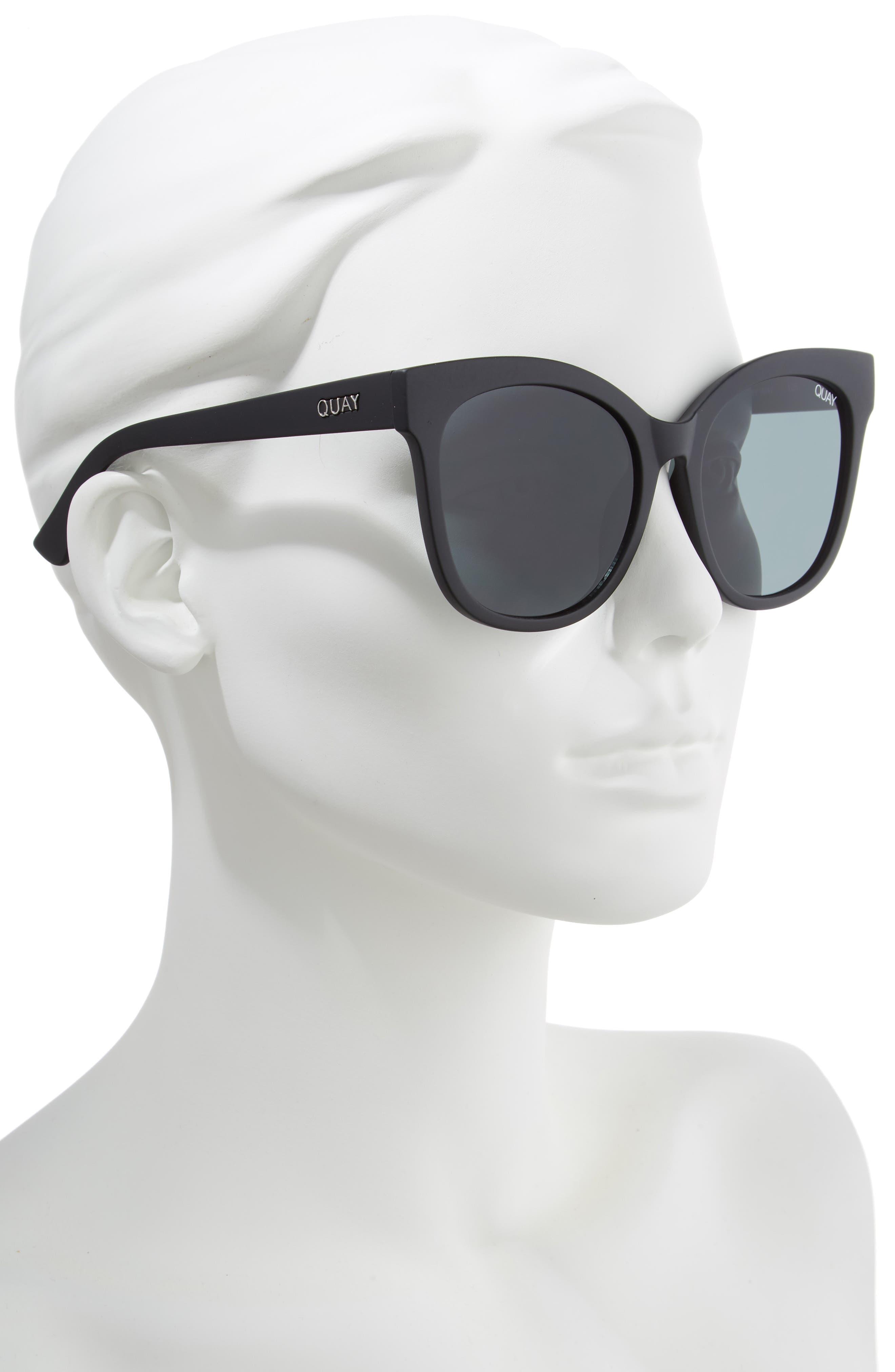 QUAY AUSTRALIA, It's My Way 55mm Sunglasses, Alternate thumbnail 2, color, BLACK/ SMOKE