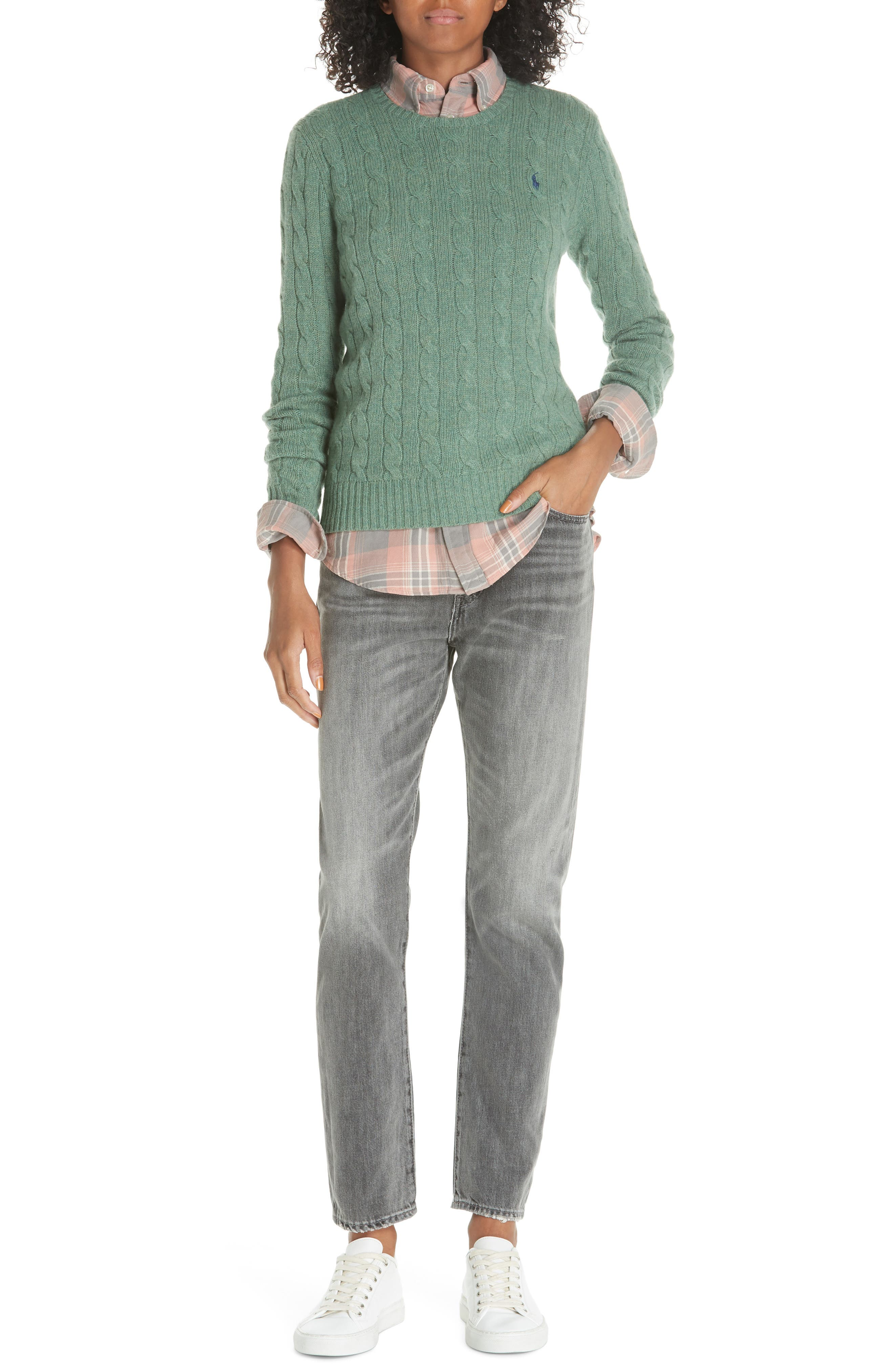 POLO RALPH LAUREN, Cable Knit Cotton Sweater, Alternate thumbnail 7, color, 300