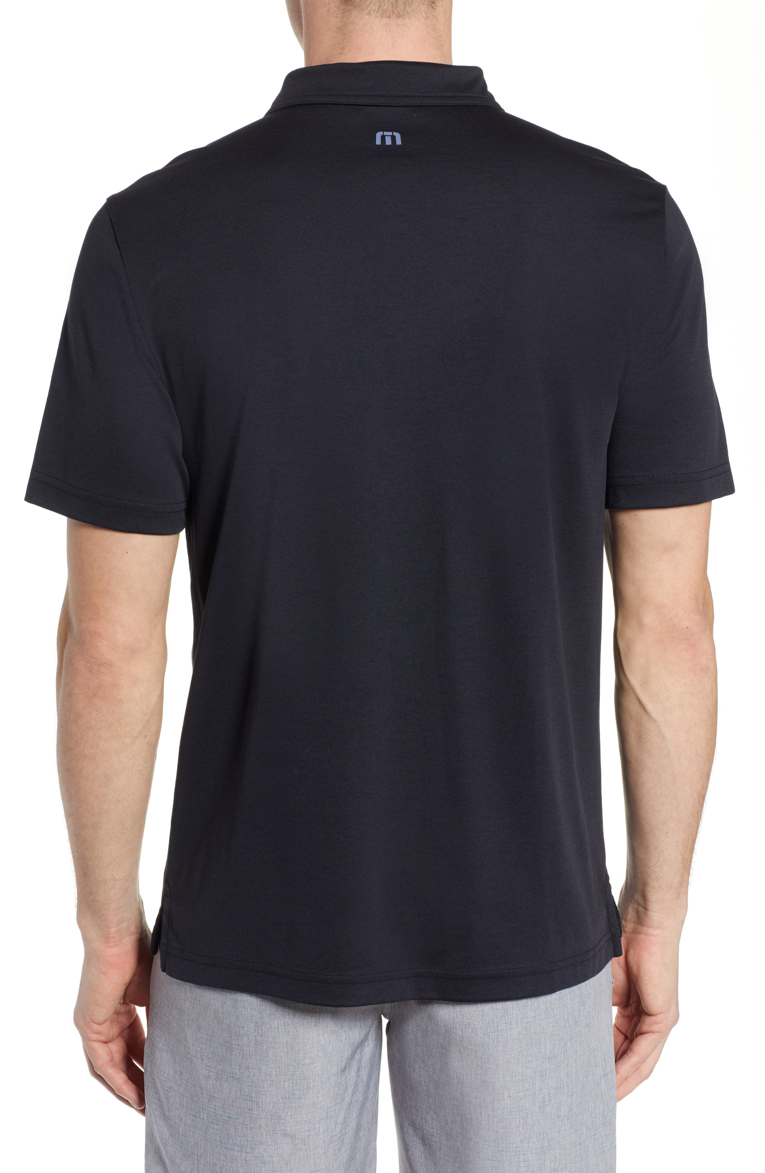 TRAVISMATHEW, Burns Regular Fit Polo, Alternate thumbnail 2, color, BLACK