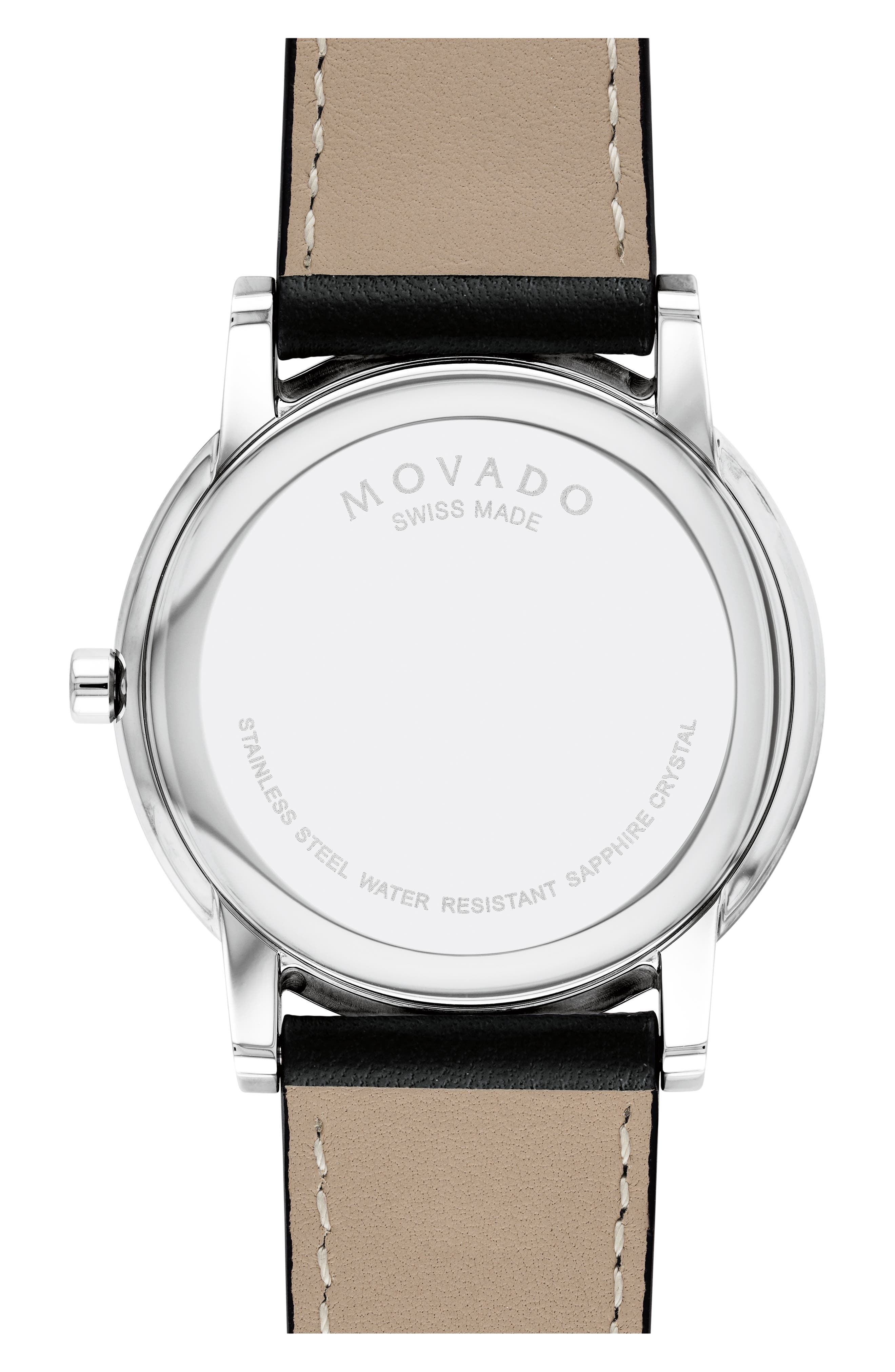 MOVADO, Leather Strap Watch, 40mm, Alternate thumbnail 3, color, BLACK/ SILVER