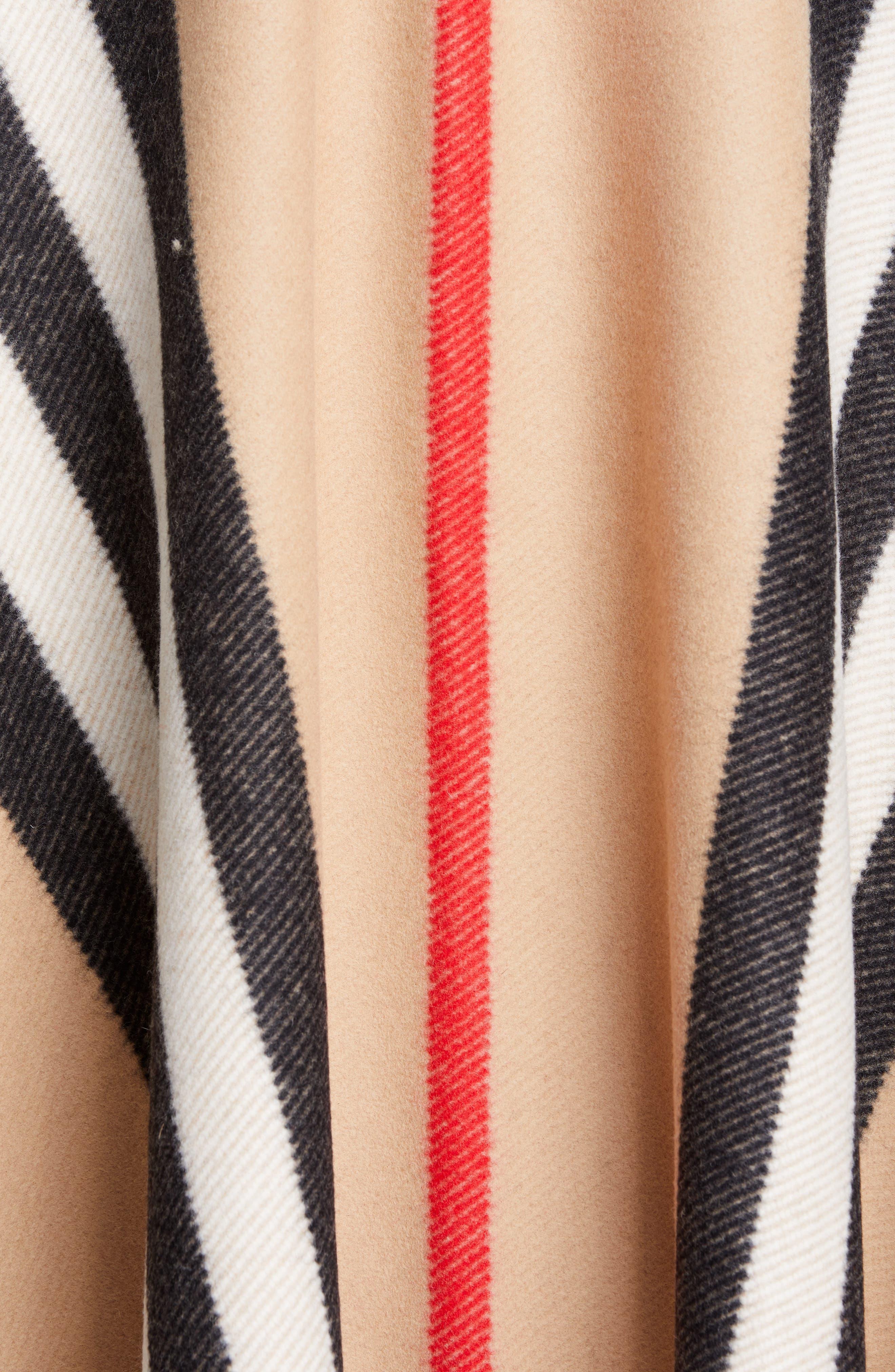 BURBERRY, Stripe Fringe Wool Cape, Alternate thumbnail 5, color, CAMEL